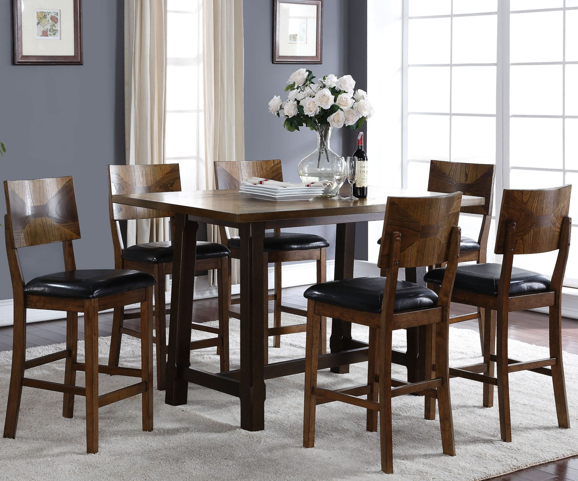 Gillian two tone counter height dining room set from new for 2 tone dining room sets
