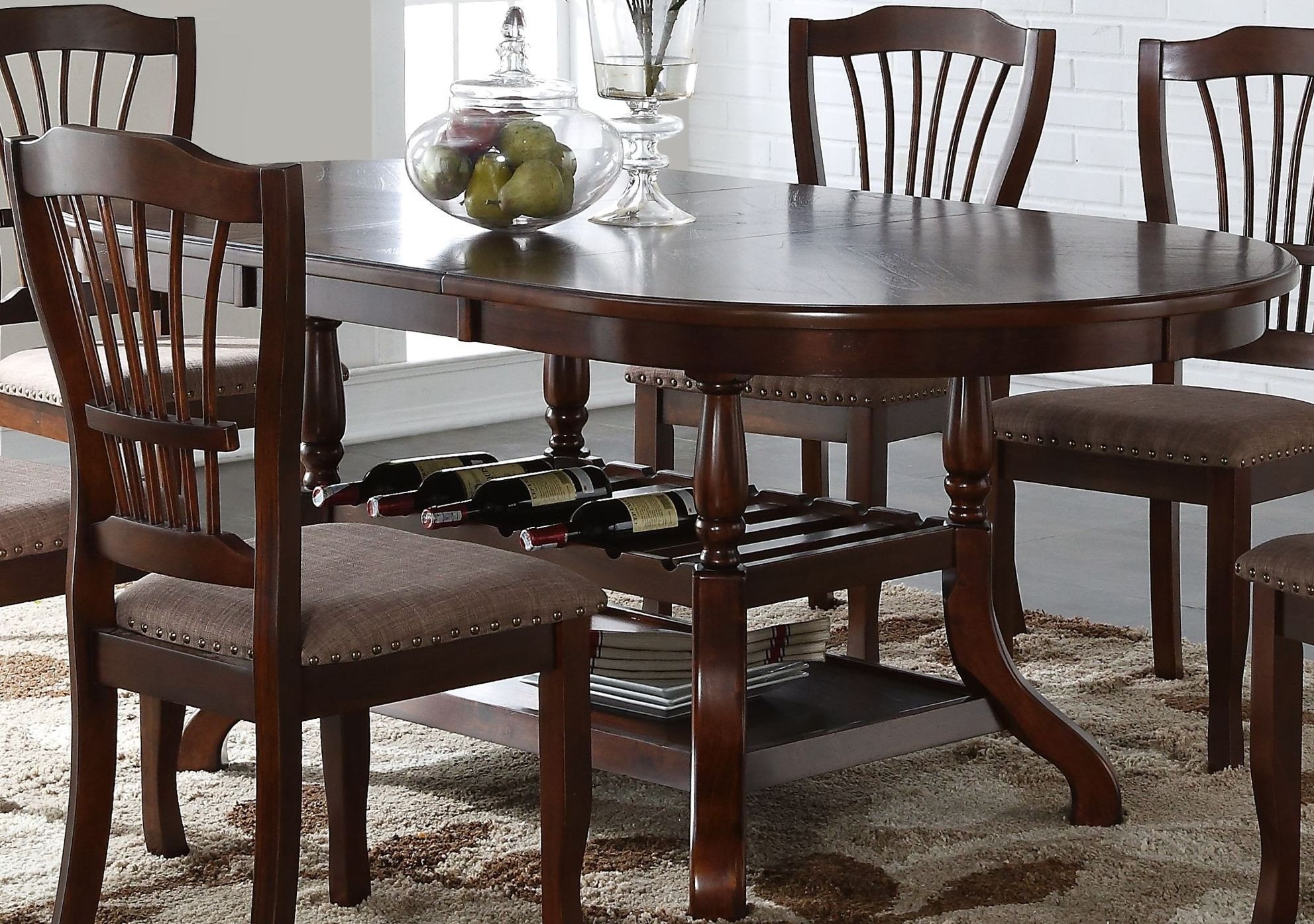 bixby espresso oval extendable dining table from new classic coleman furniture. Black Bedroom Furniture Sets. Home Design Ideas
