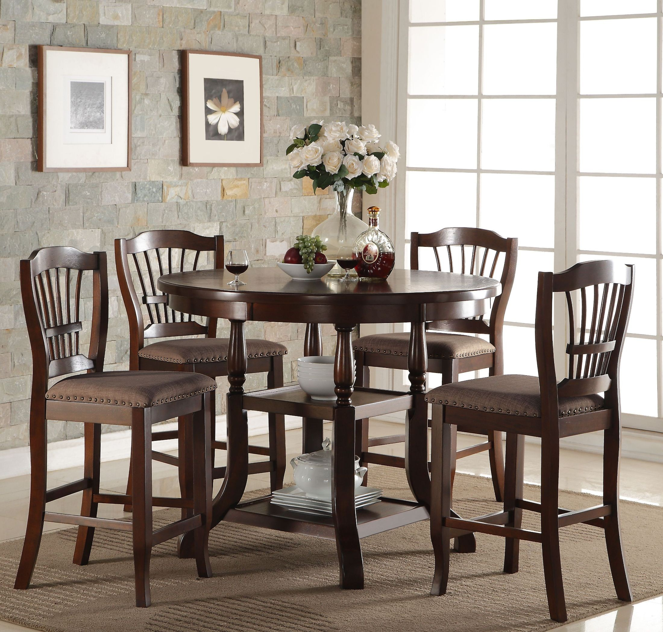 bixby espresso round counter height dining room set from new classic