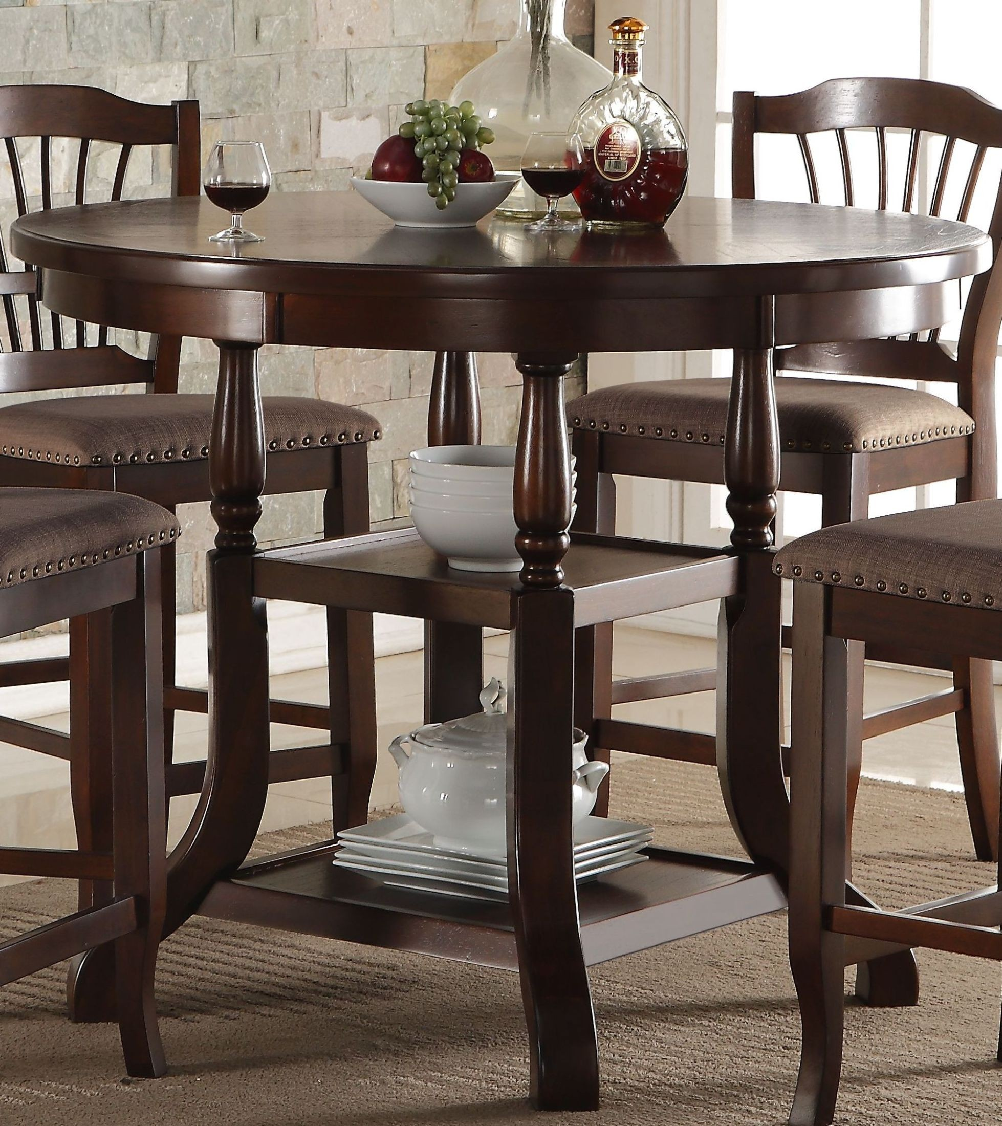 Counter Height Dining Tables: Bixby Espresso Round Counter Height Dining Table From New