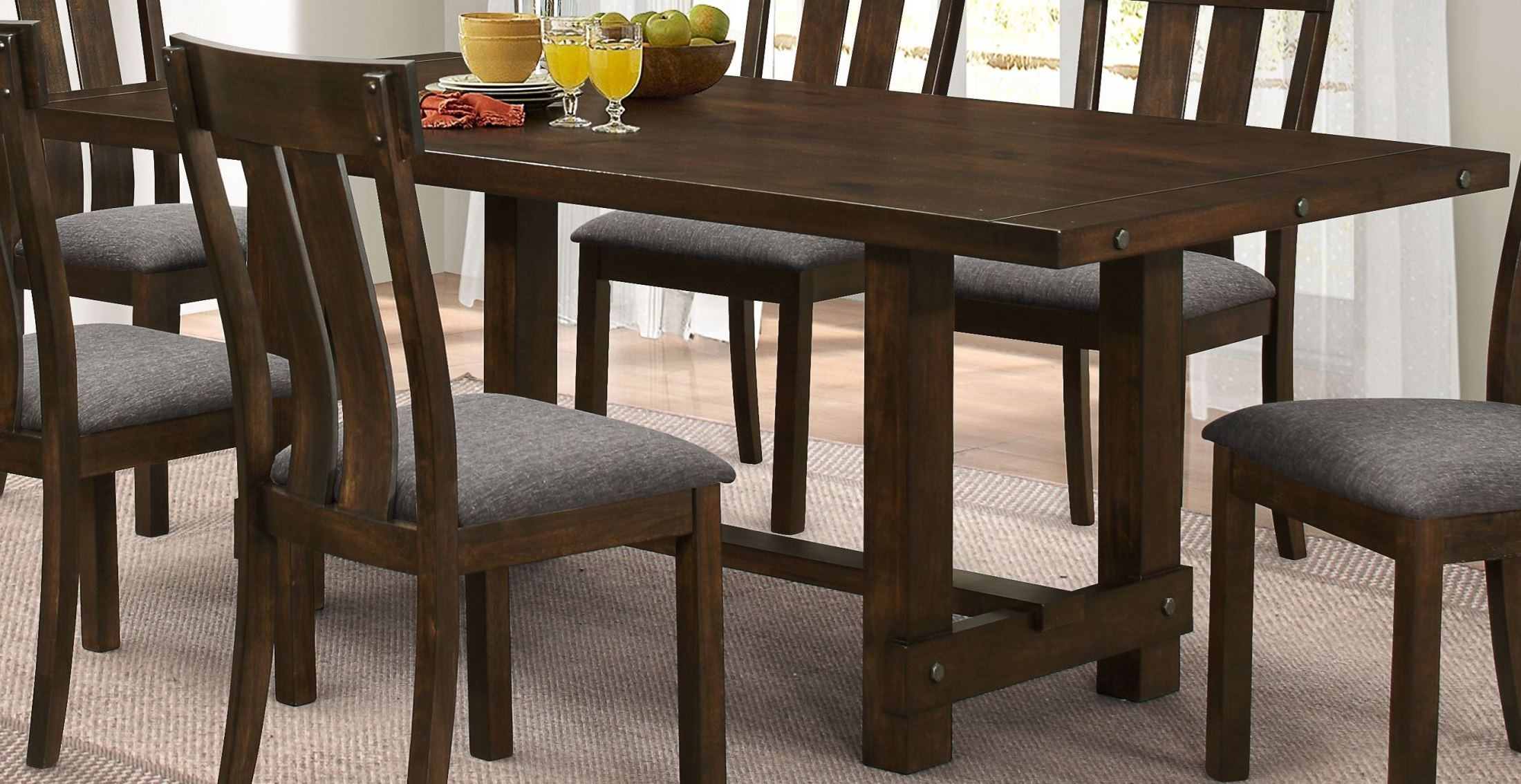 Frisco antique tobacco standard dining table from new for Standard dining table