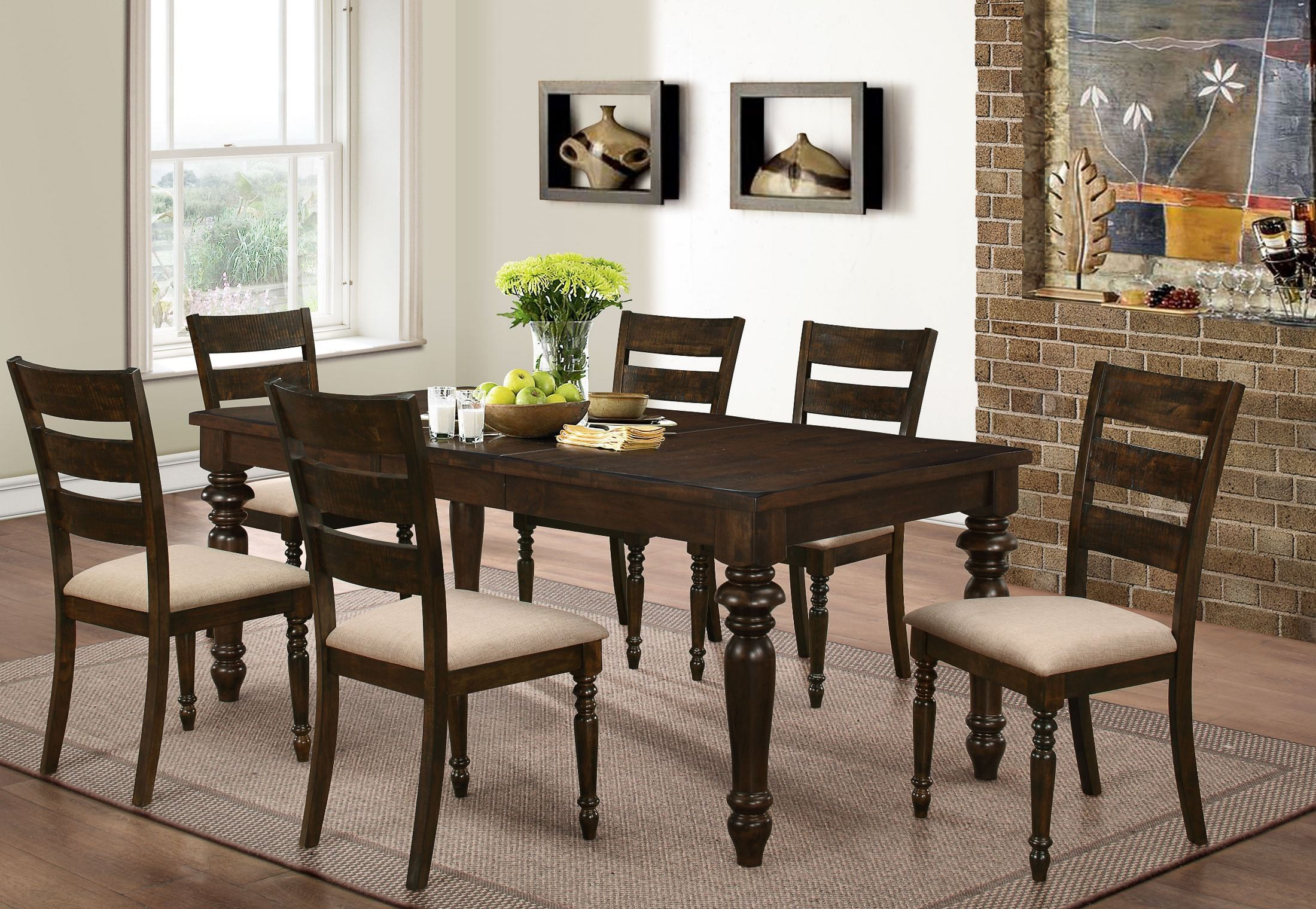 Annandale antique tobacco dining room set from new classic for Latest dining set