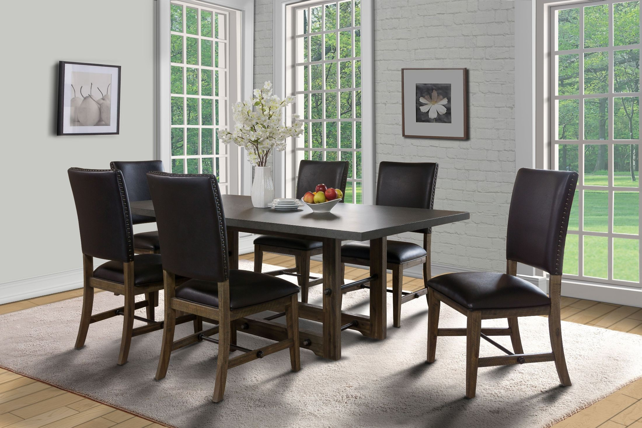 Canton brown dining room set from new classic coleman for Brown dining room set