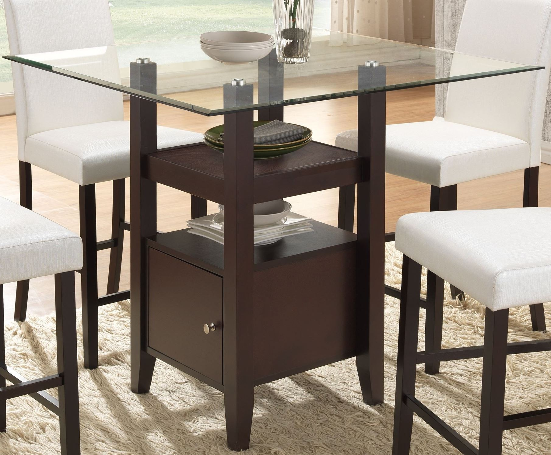 Counter Height Dining Tables: Natasha Cappuccino Glass Counter Height Dining Table