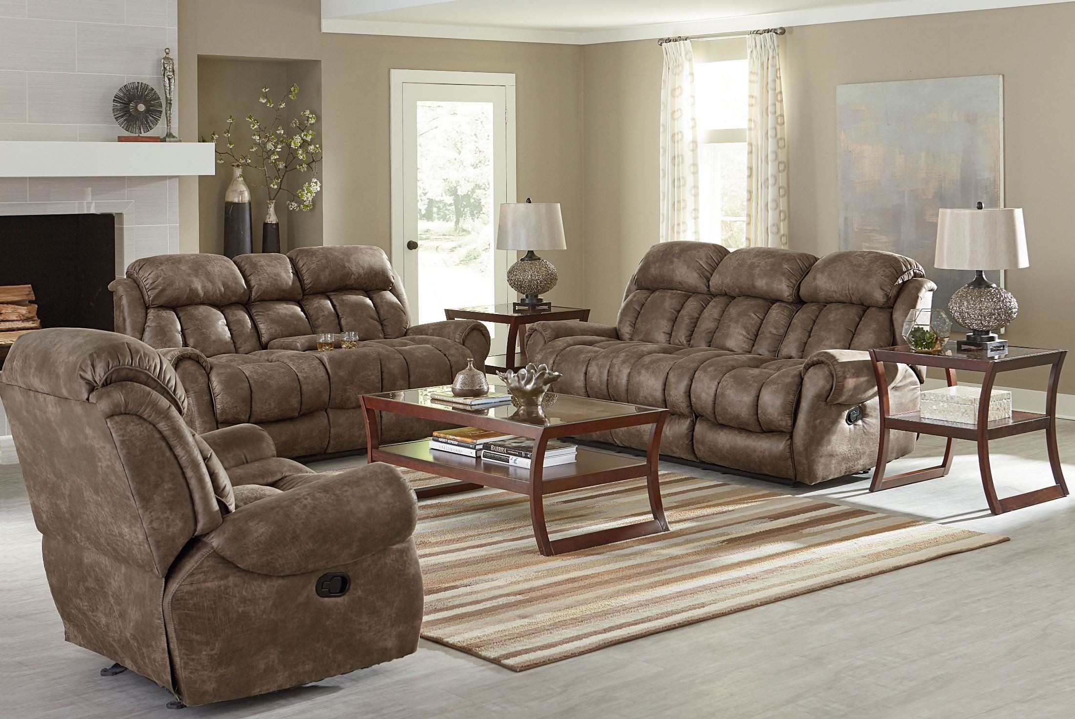 Summit bomber jacket microfiber reclining living room set - Microfiber living room furniture sets ...