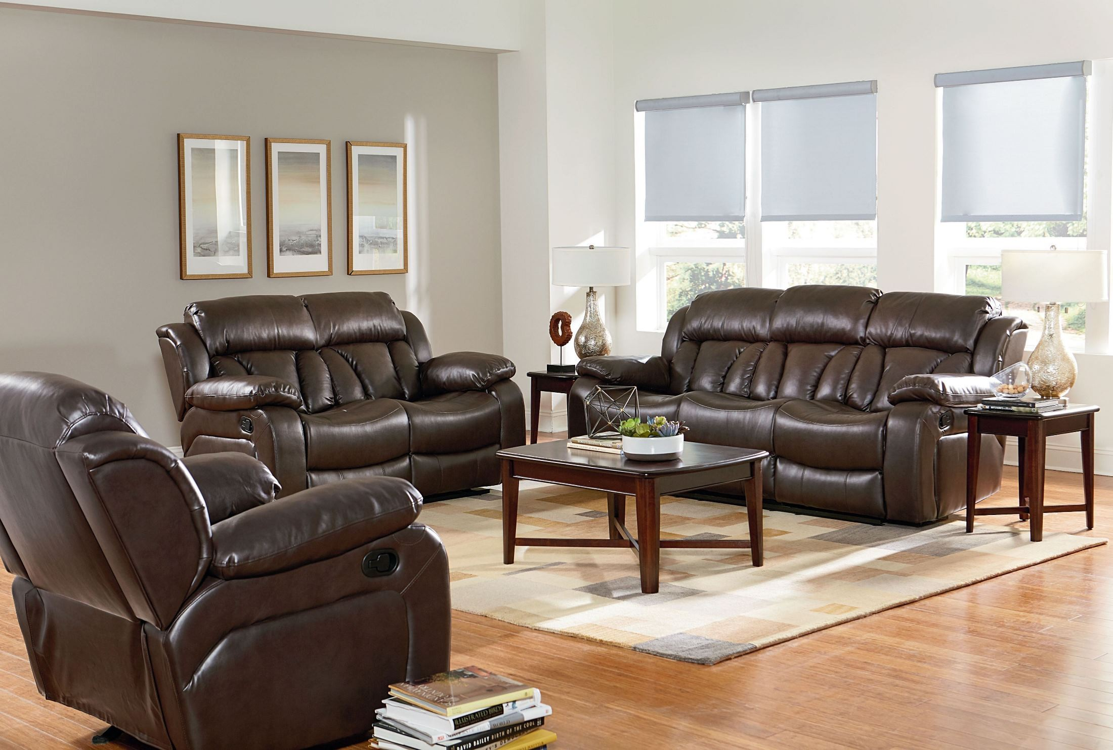 North shore chocolate brown reclining living room set from Reclining living room furniture