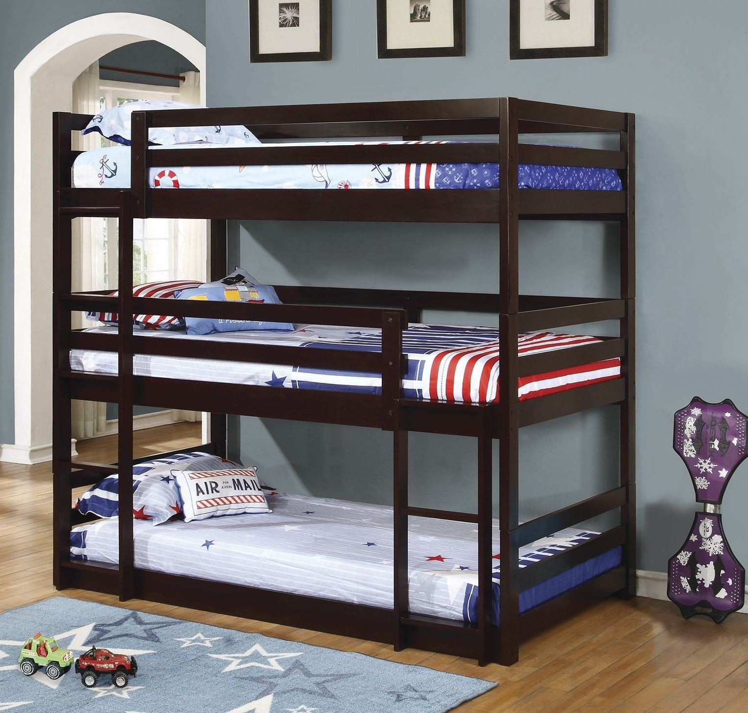 Cappuccino Triple Twin Bunk Bed From Coaster Coleman
