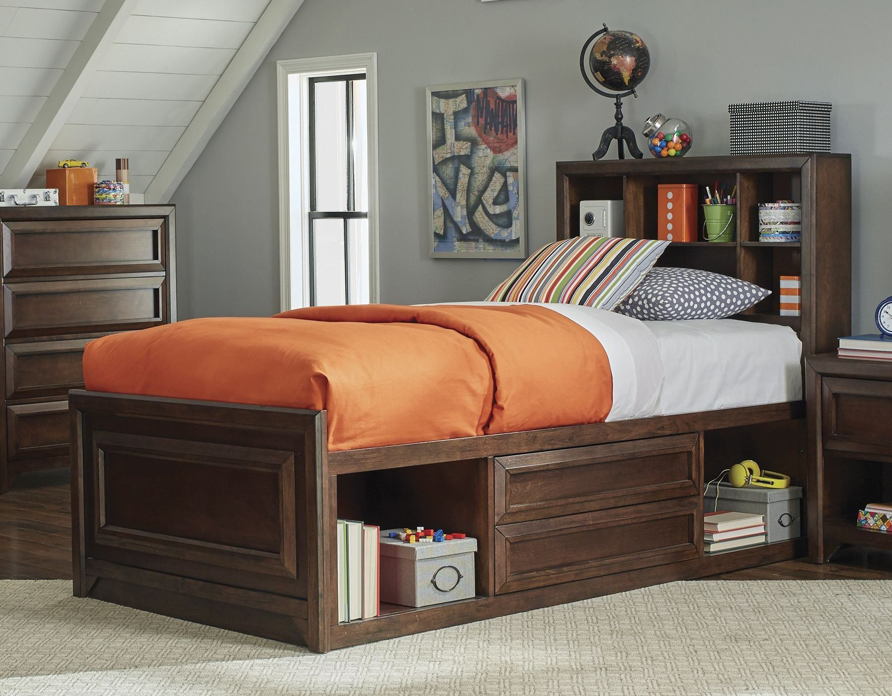 Greenough maple oak storage panel bedroom set 400820t - Youth bedroom furniture with storage ...