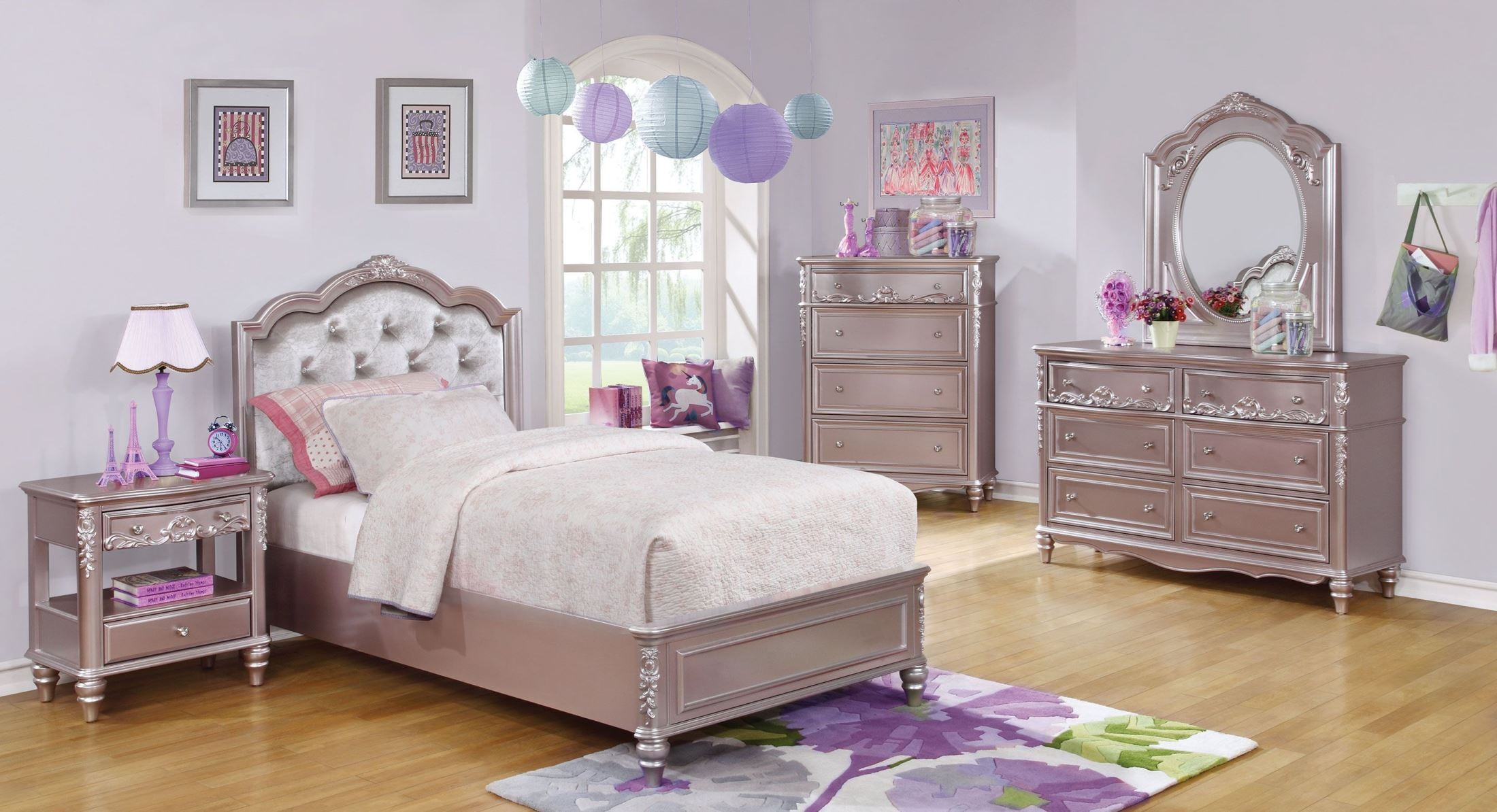 Caroline Metallic Lilac Youth Platform Bedroom Set From Coaster Coleman Furniture