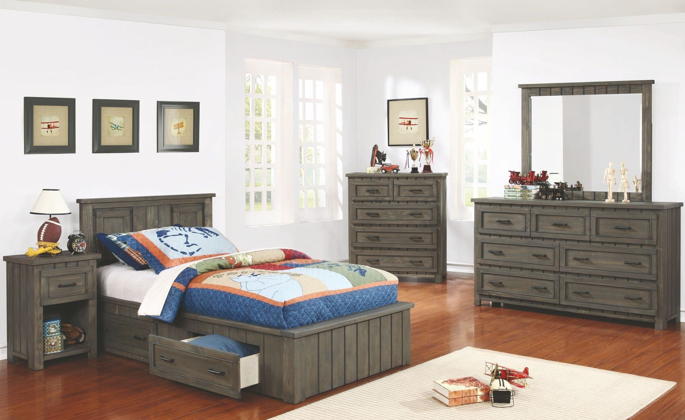 Napoleon Youth Gunsmoke Full Platform Bed With Headboard