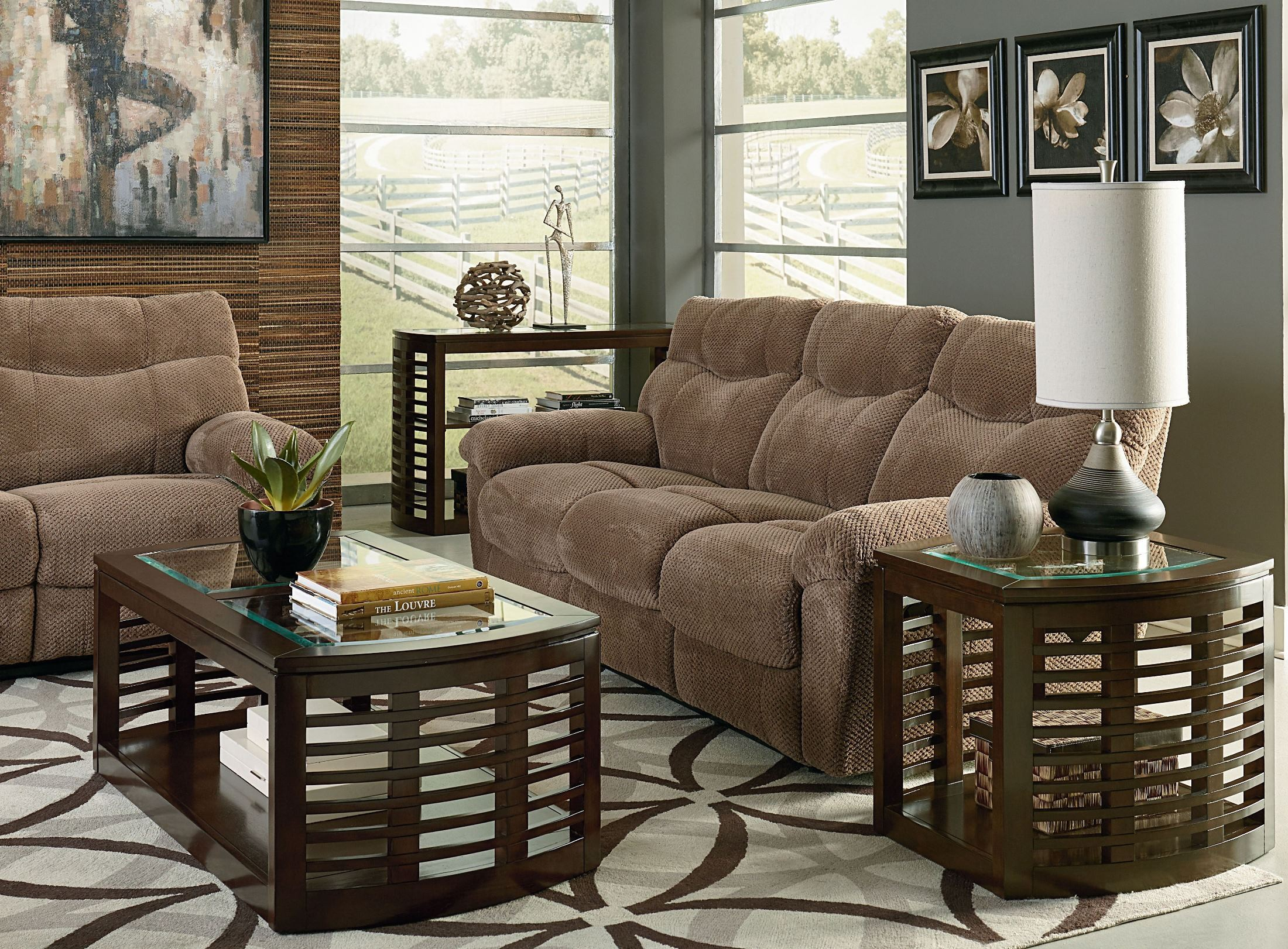 Escapade taupe brown reclining living room set from for Brown taupe living room
