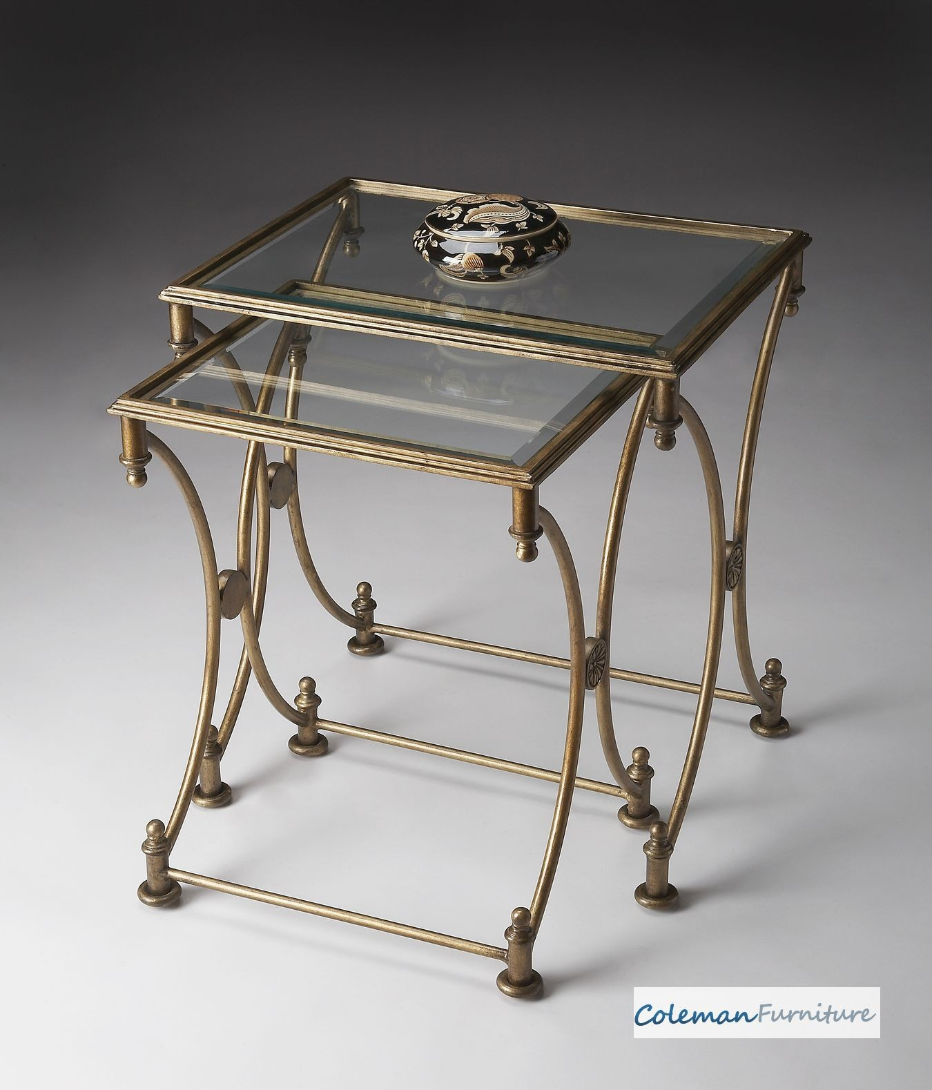 Antique Nesting Tables ~ Antique gold nesting tables from butler
