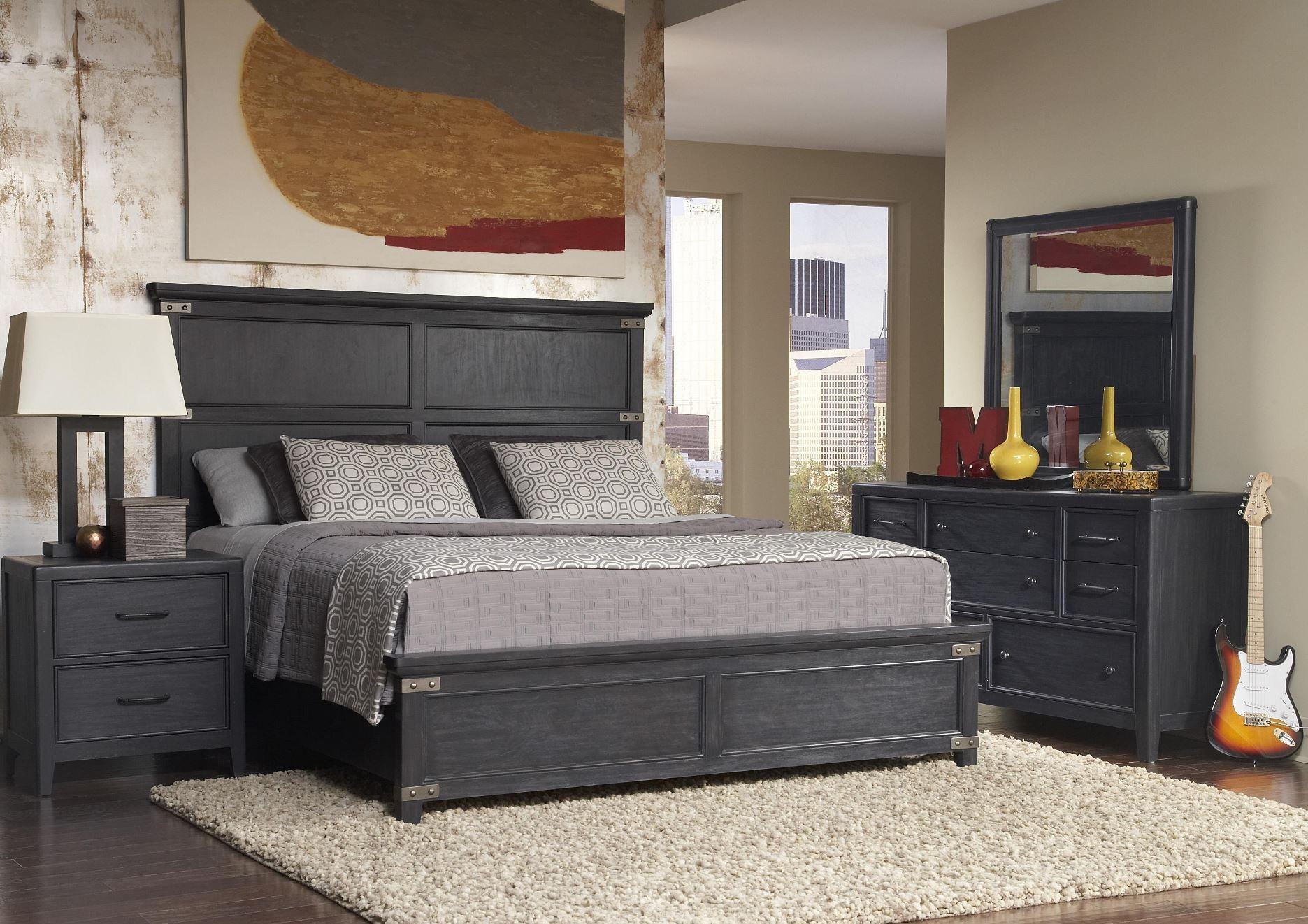 vintage tempo unique charcoal vintage tempo platform bedroom set from pulaski 402150 51 52. Black Bedroom Furniture Sets. Home Design Ideas