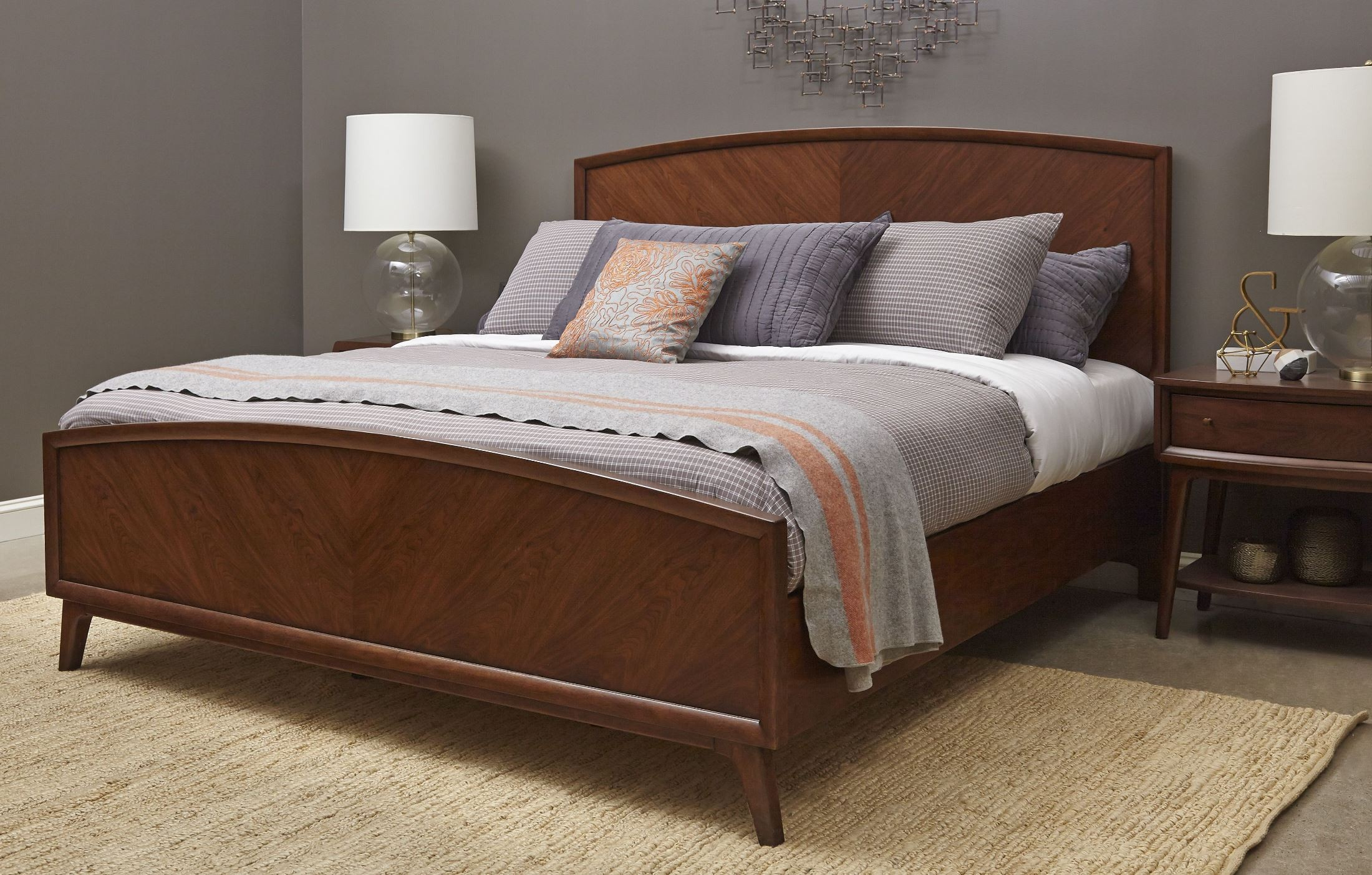 Modern Harmony Burnished Walnut Cal King Panel Bed From