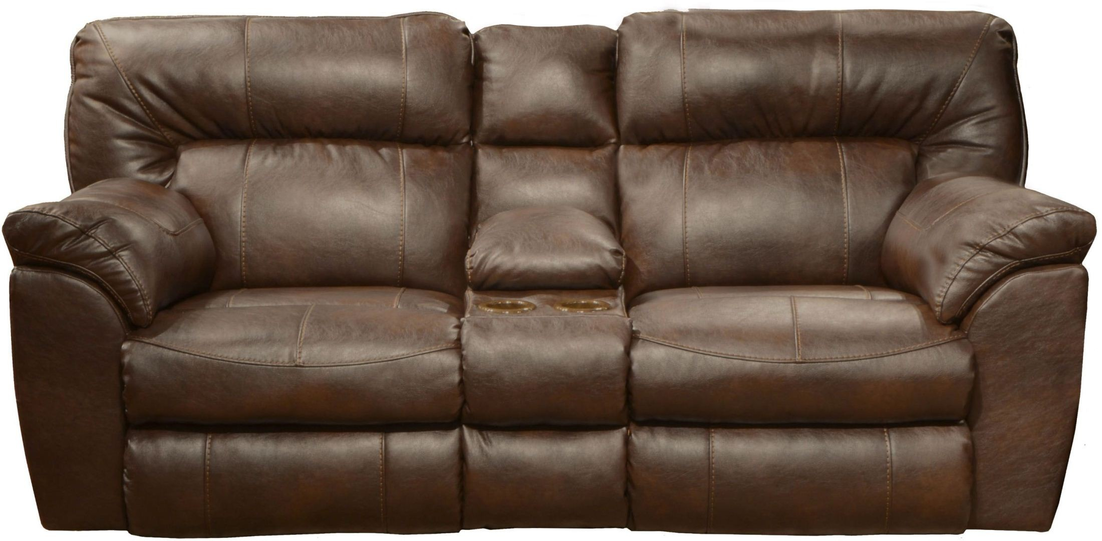 Nolan chestnut reclining loveseat with console for Catnapper cloud nine chaise recliner