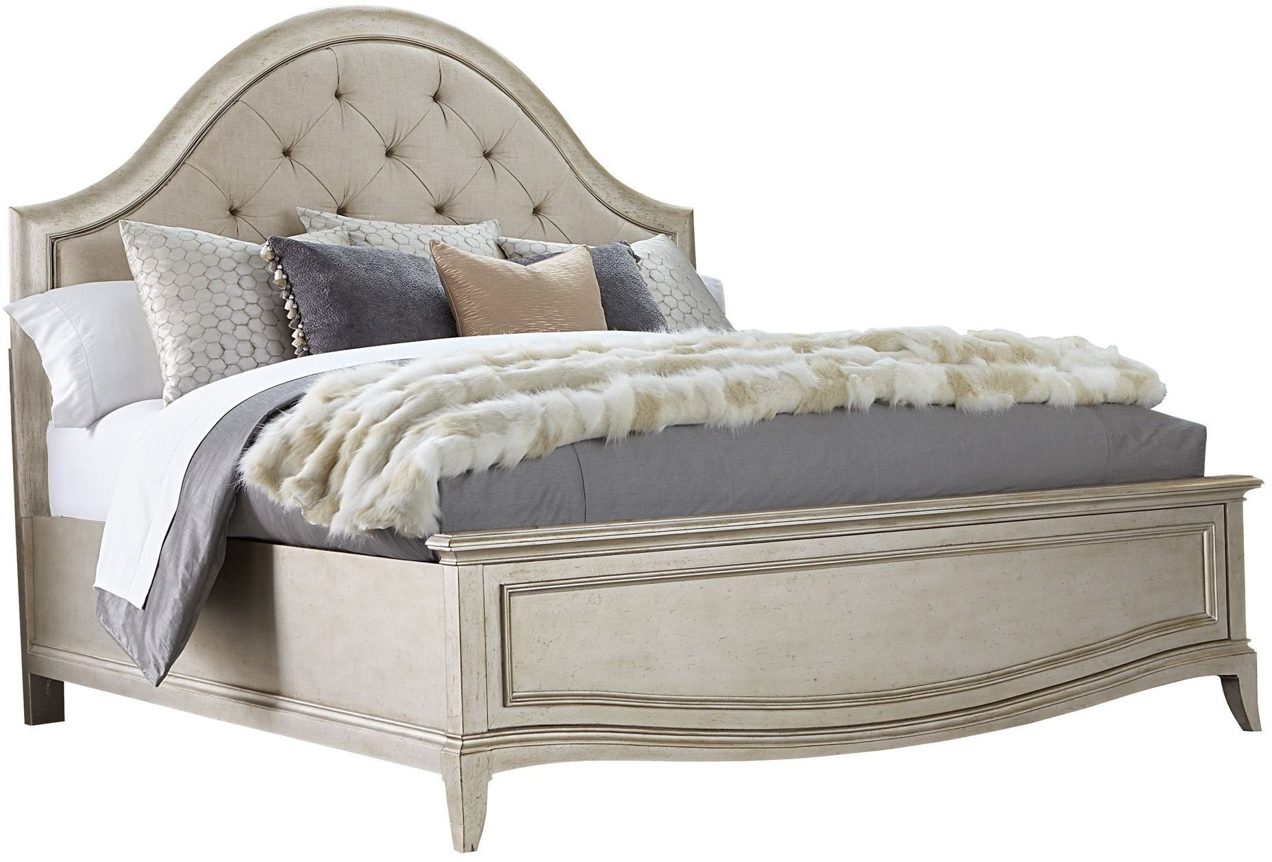 Starlite silver king upholstered panel bed from art for Panel beds for sale