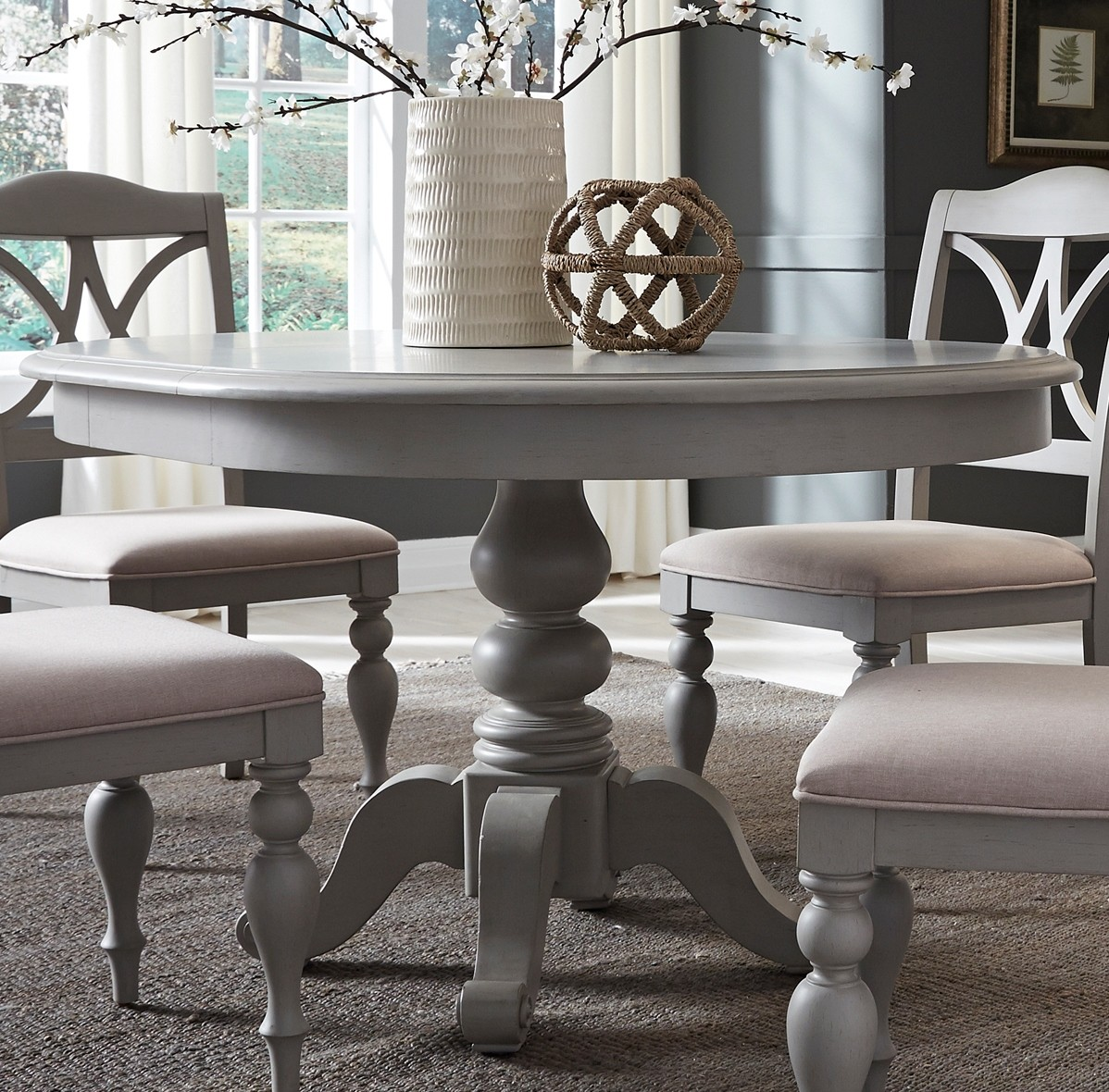 Summer House Dove Grey Round Extendable Dining Table From