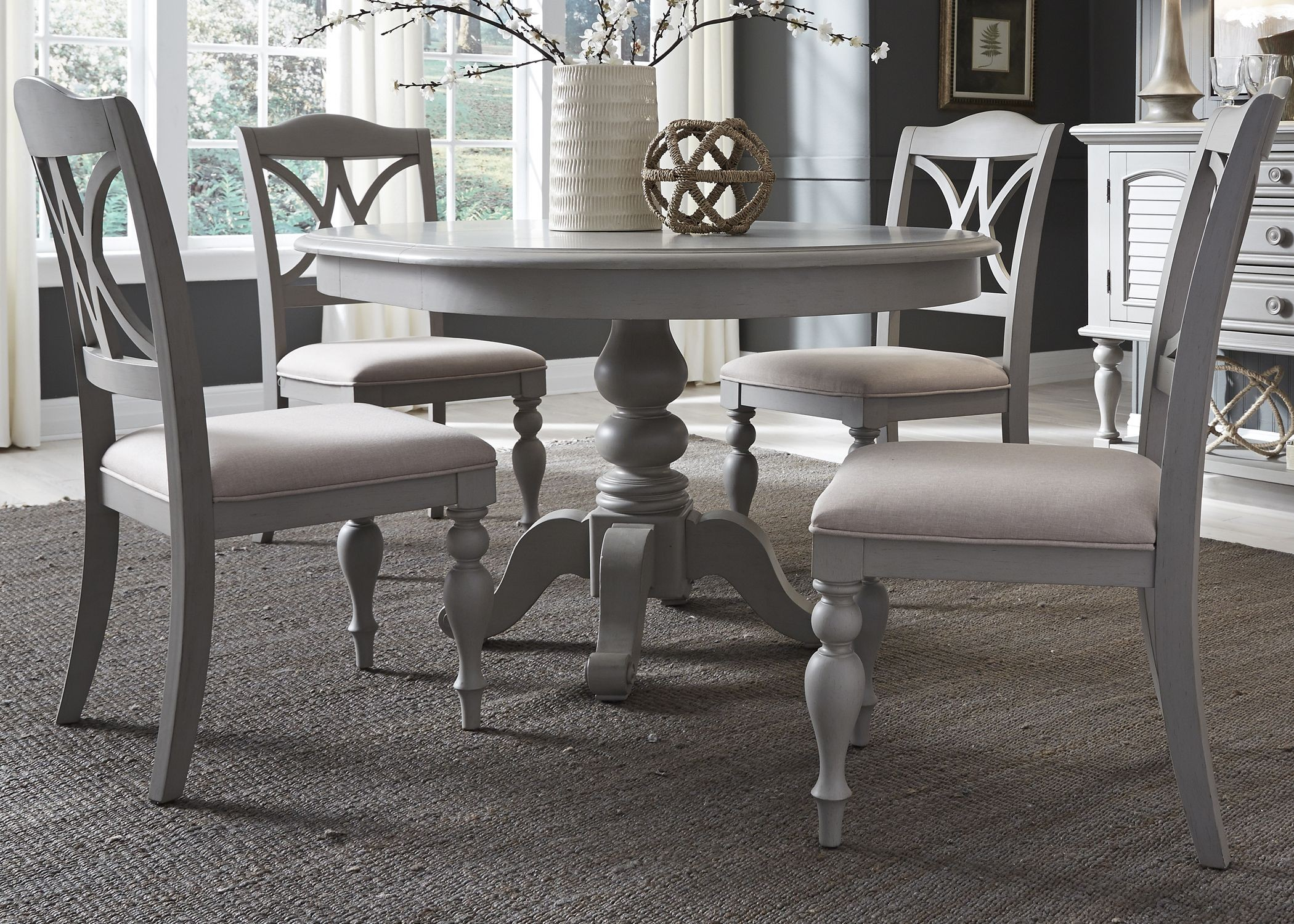 Summer house dove grey round dining room set from liberty coleman furniture