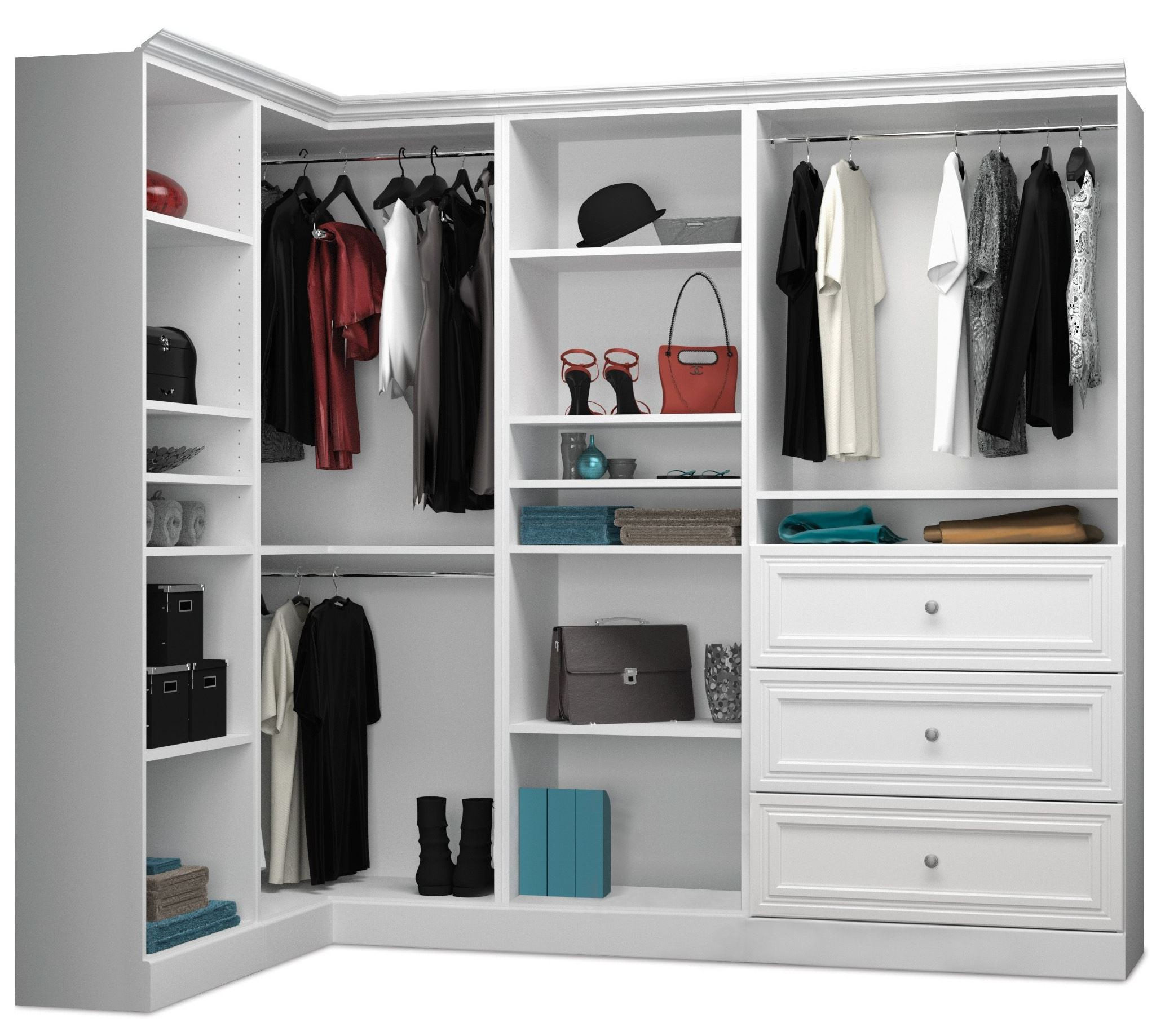 Versatile White 90 Corner Storage Wardrobe From Bestar