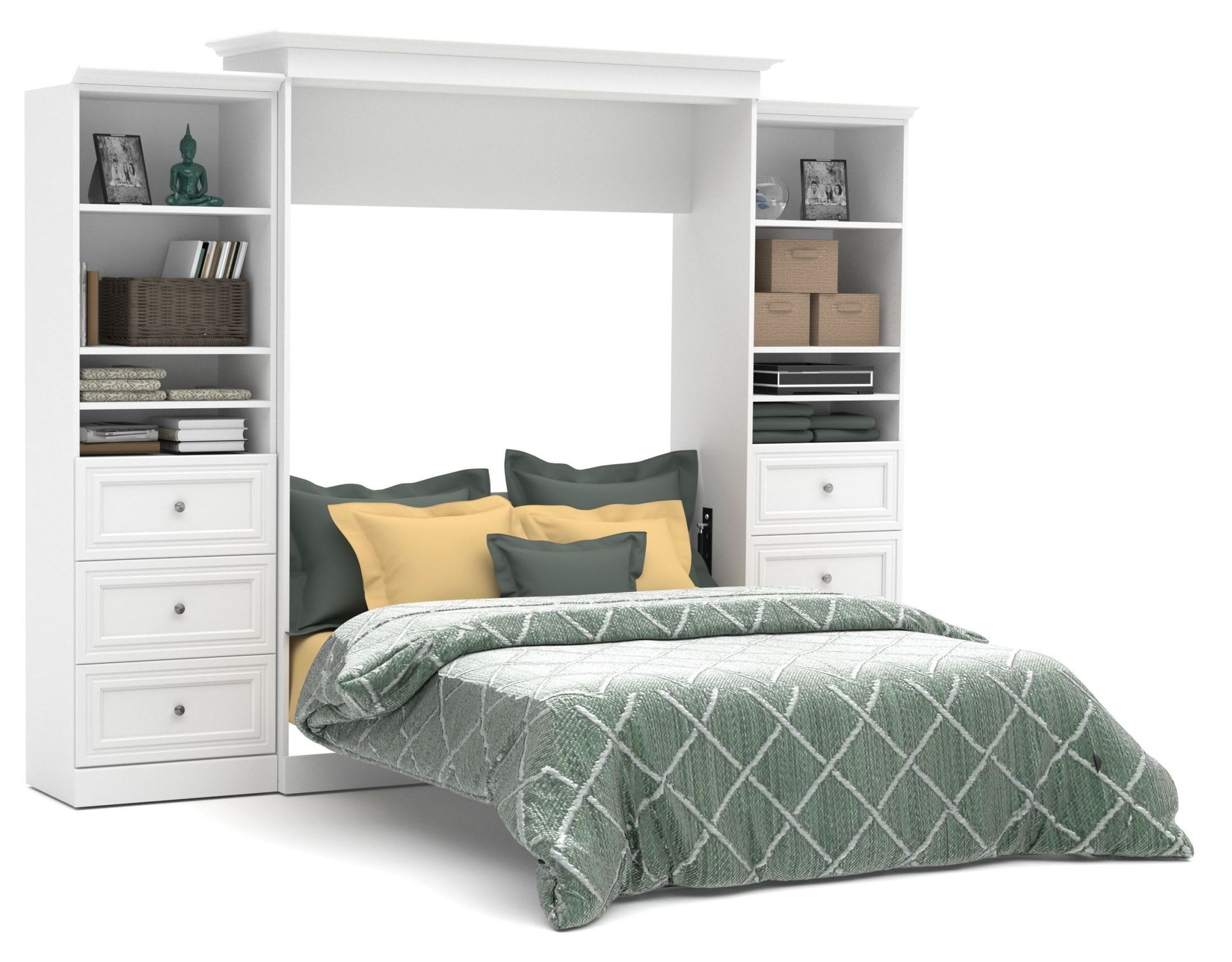 Versatile White 115'' Drawer Storage Queen Wall Bed from ...