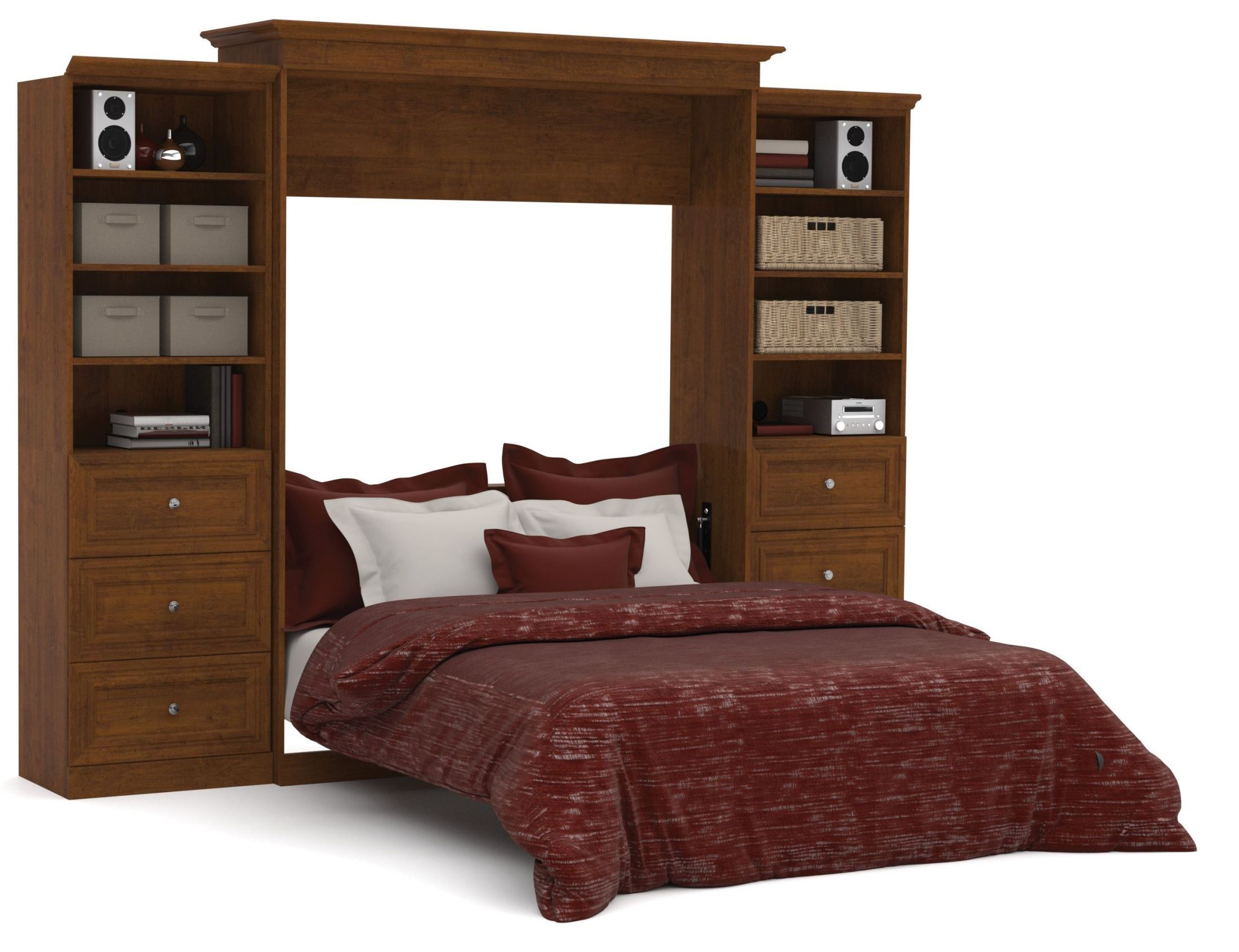 versatile tuscany brown 115'' drawer storage queen wall