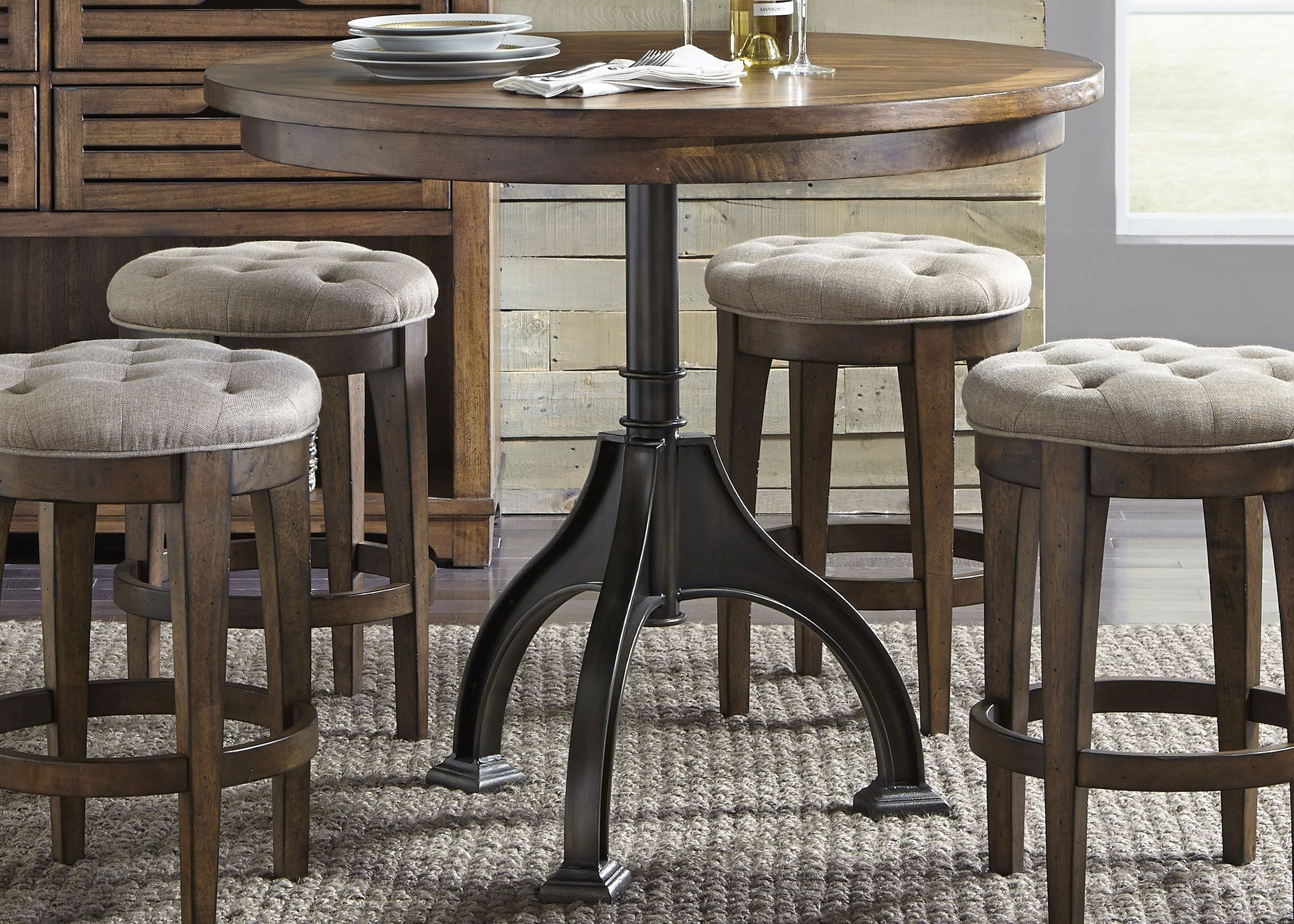 arlington house cobblestone brown round counter height gathering dining table from liberty. Black Bedroom Furniture Sets. Home Design Ideas