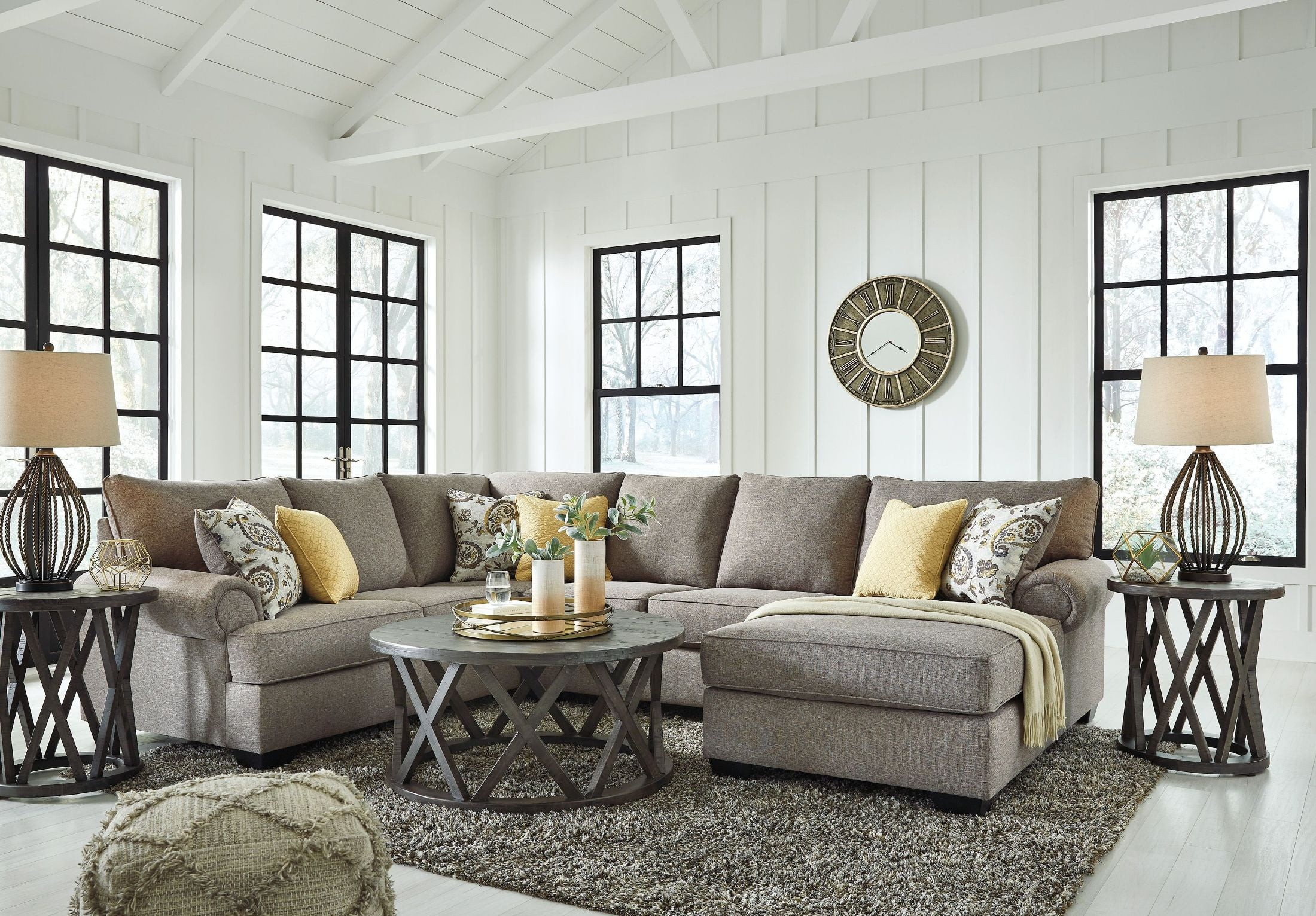 Renchen Pewter LAF Sectional from Ashley | Coleman Furniture