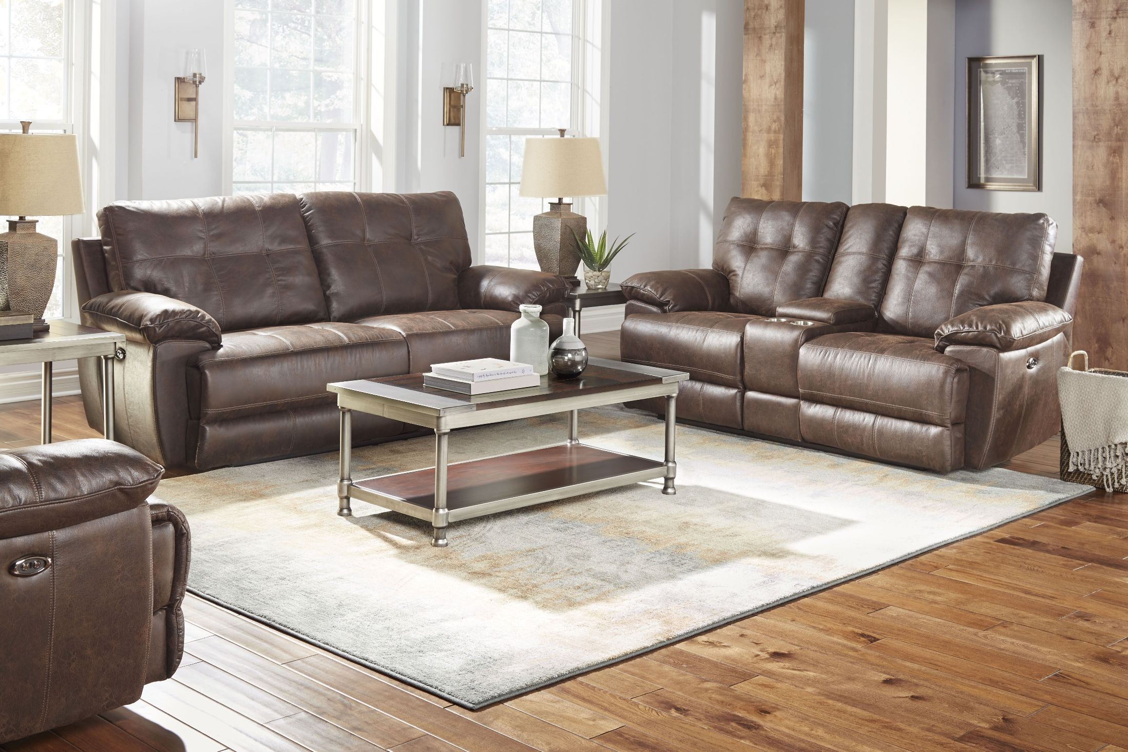 Hollister brown power reclining living room set from for Brown living room set