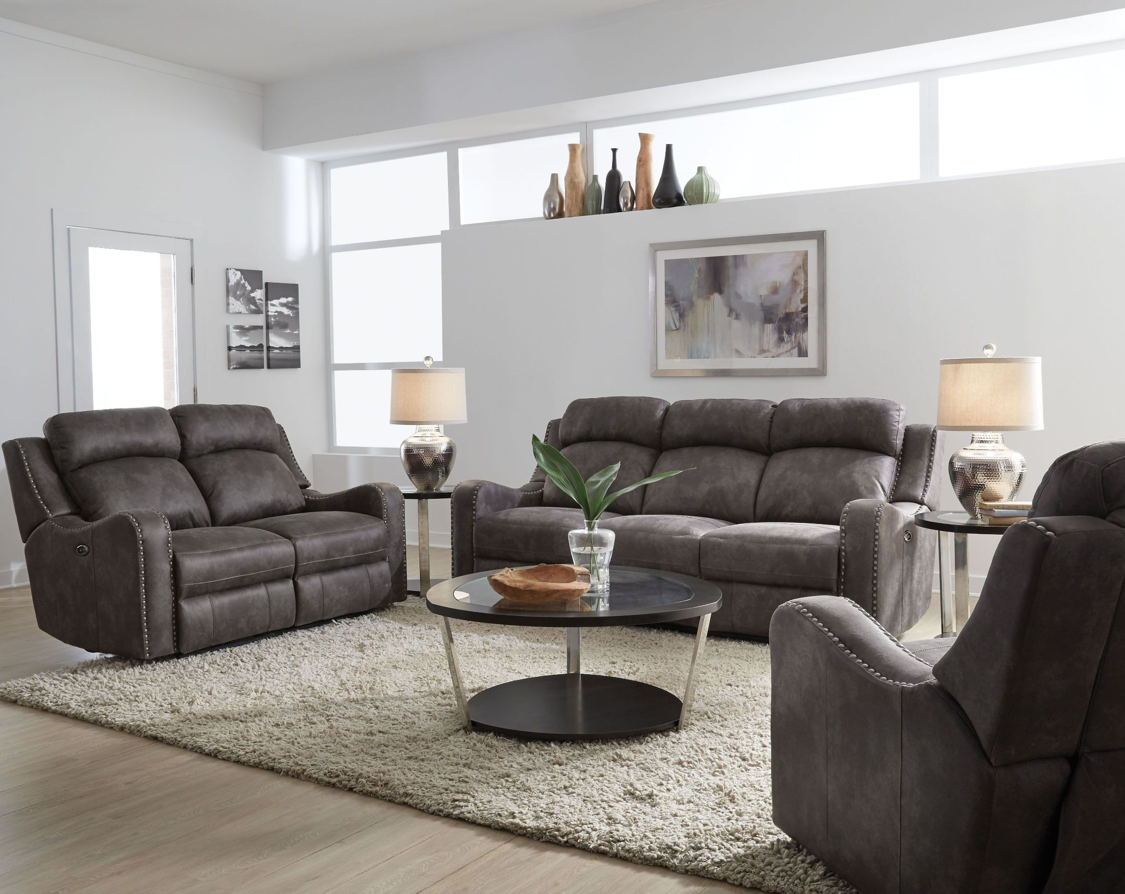 Bankston gray power reclining living room set from for Grey living room sets