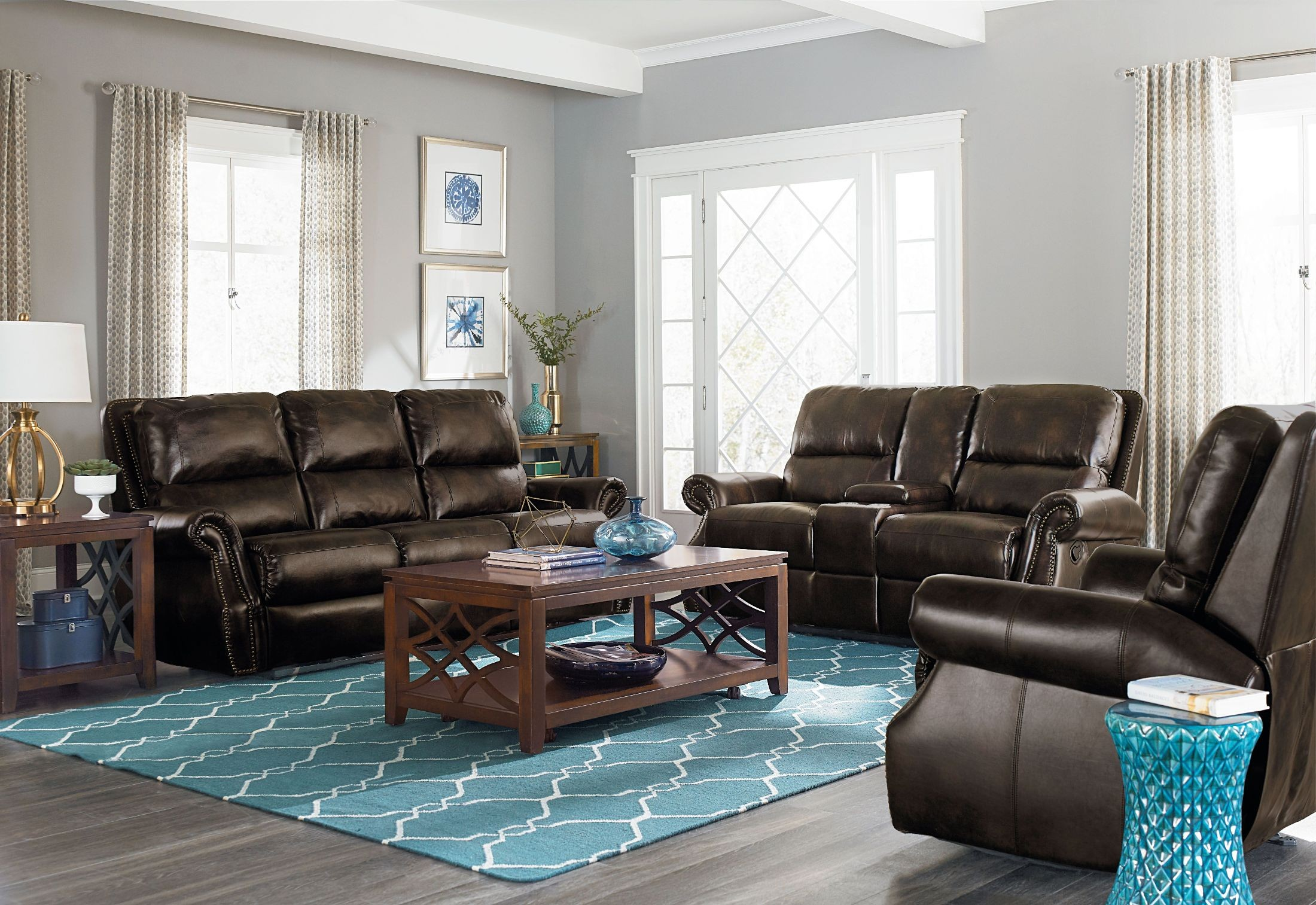 Kingston Brown Reclining Living Room Set From Standard