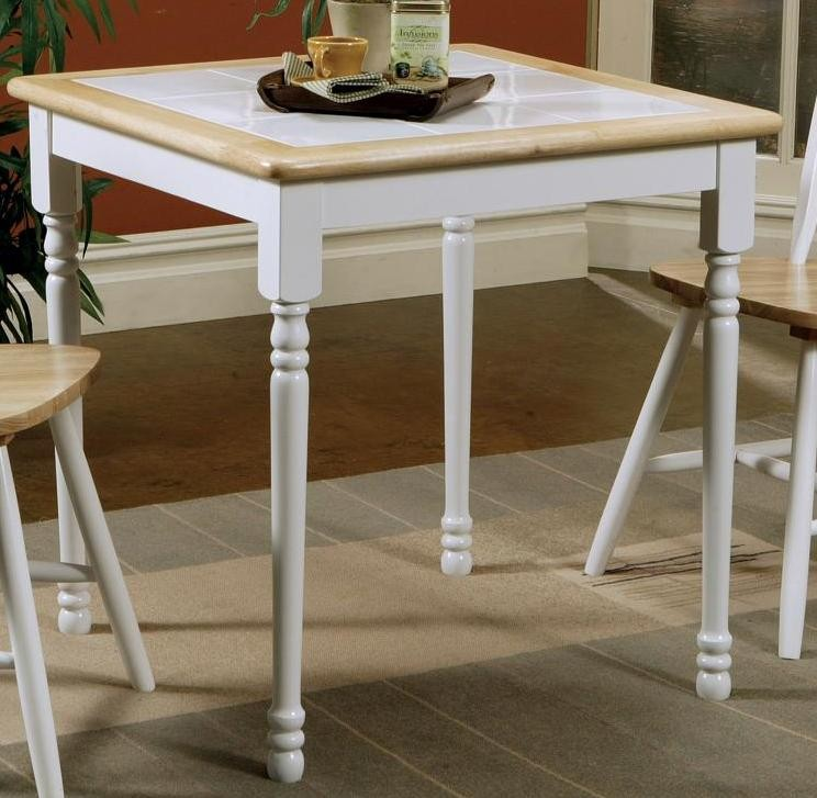 White Square Dining Table: Damen Natural/White Square Tile Top Dining Table From