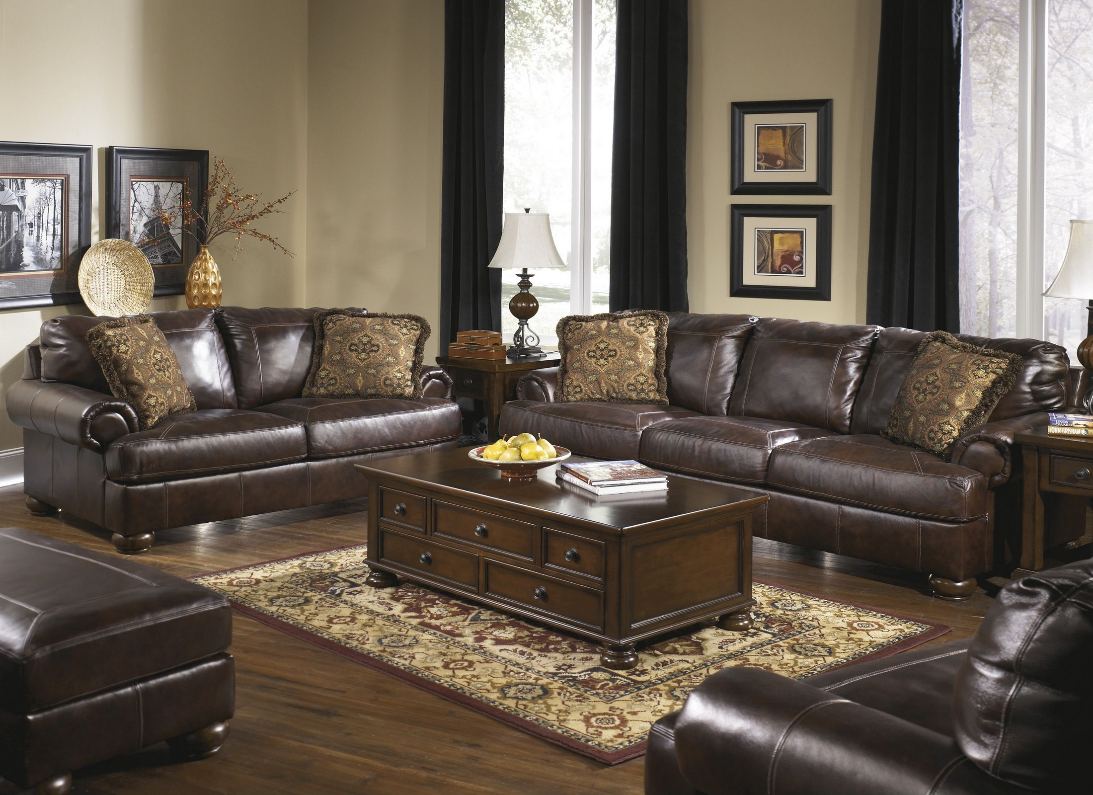 Axiom Walnut Sofa Chair Living Room Set From Ashley