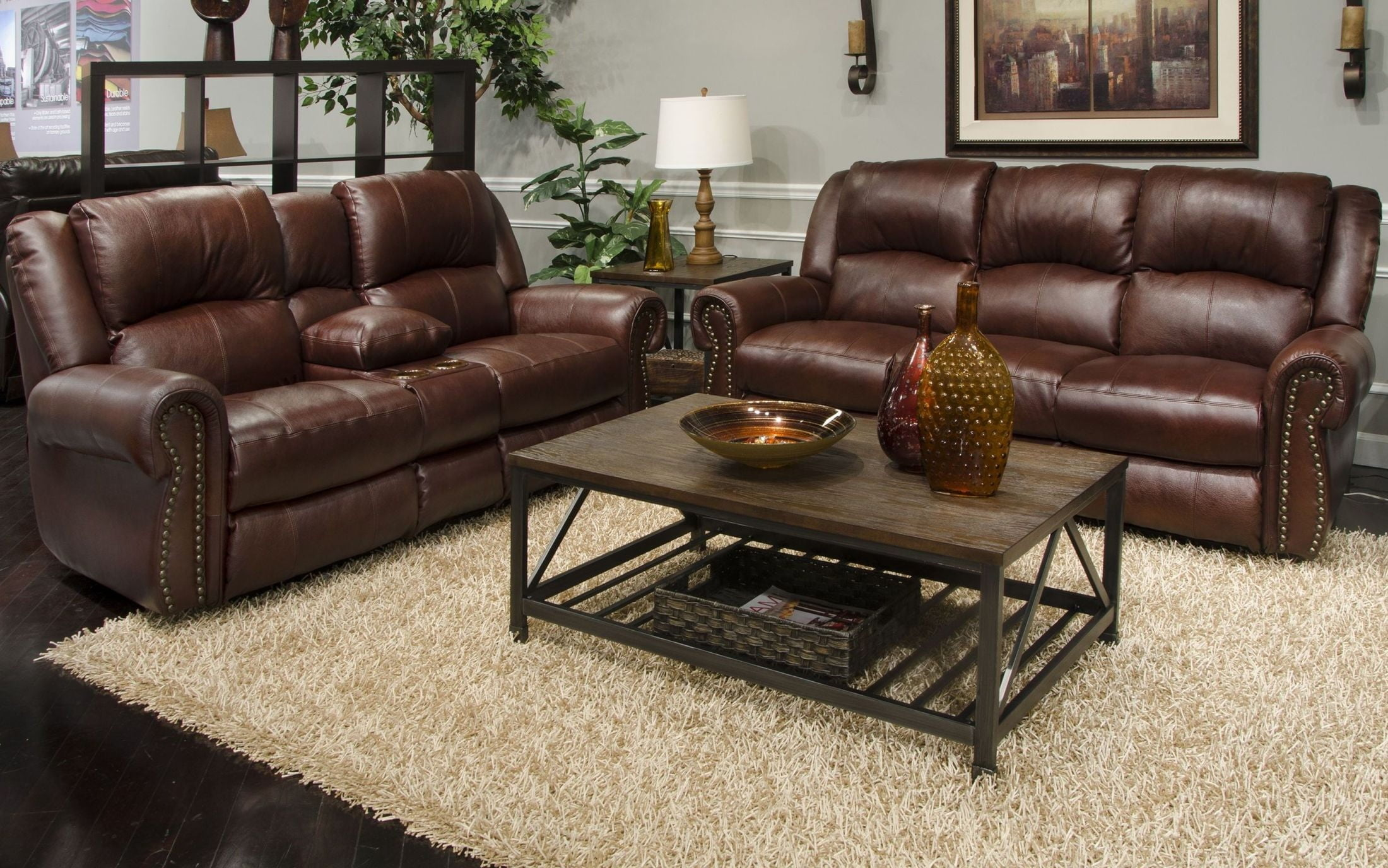 Messina Walnut Leather Lay Flat Power Reclining Living