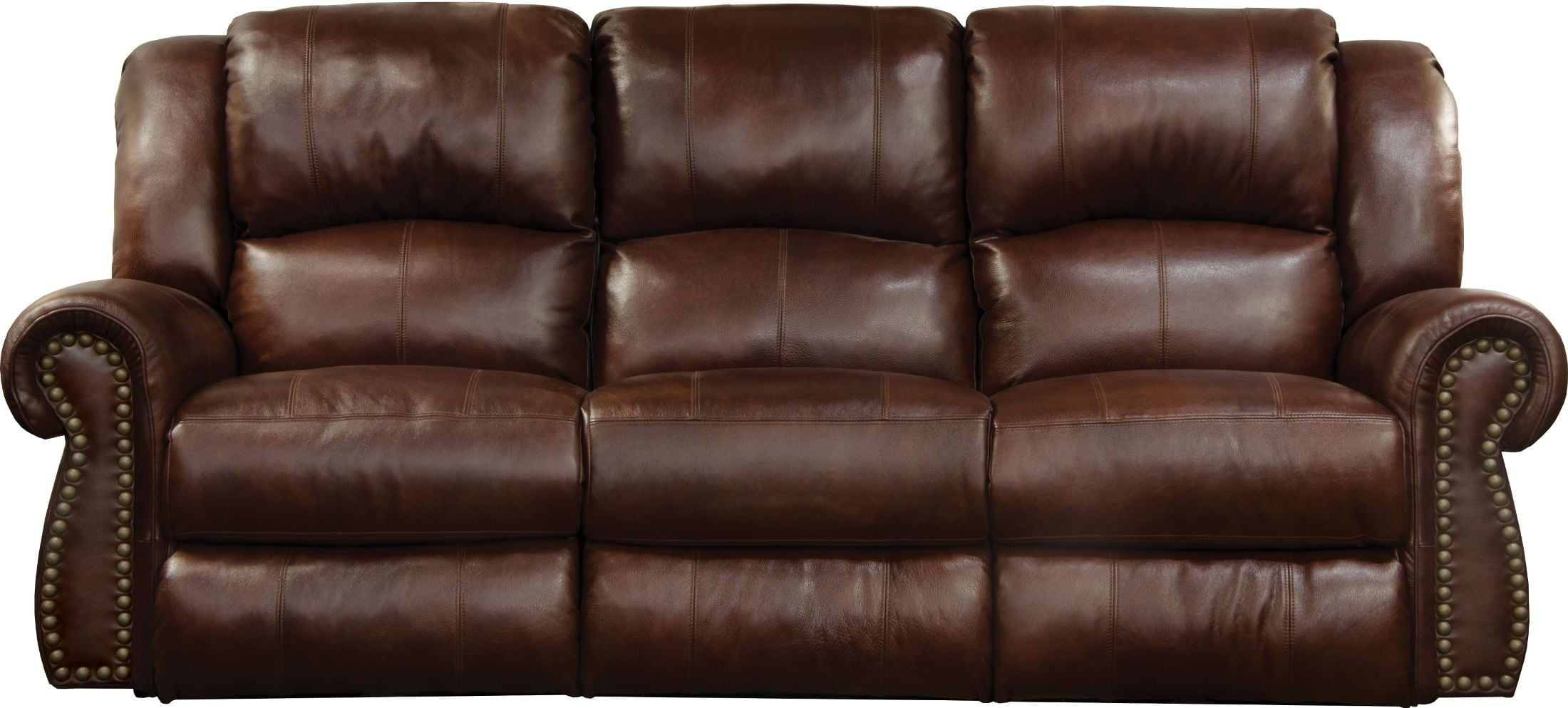 Messina Walnut Leather Lay Flat Power Reclining Sofa With