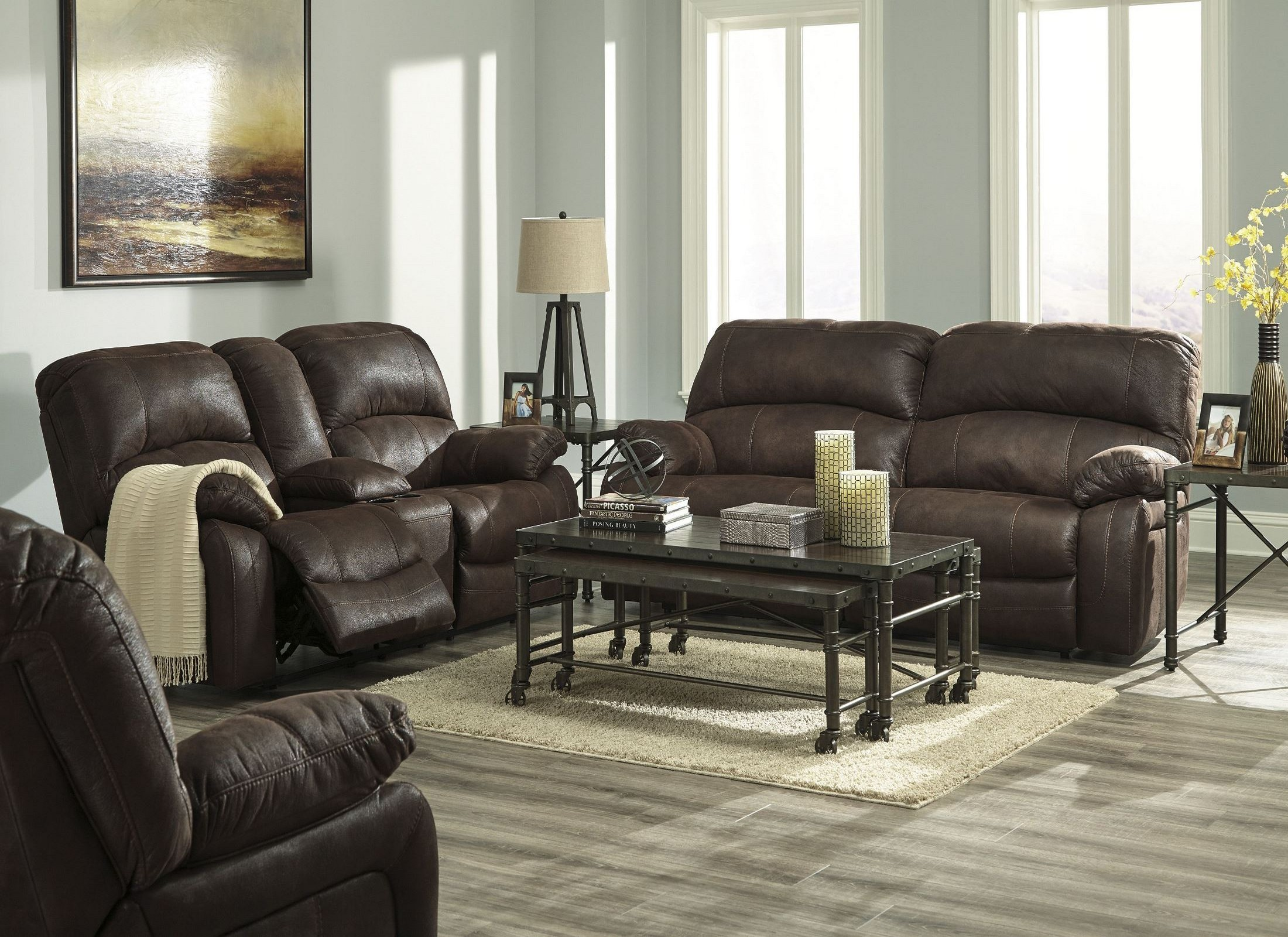 Zavier truffle 2 seat power reclining living room set from for 7 seater living room set