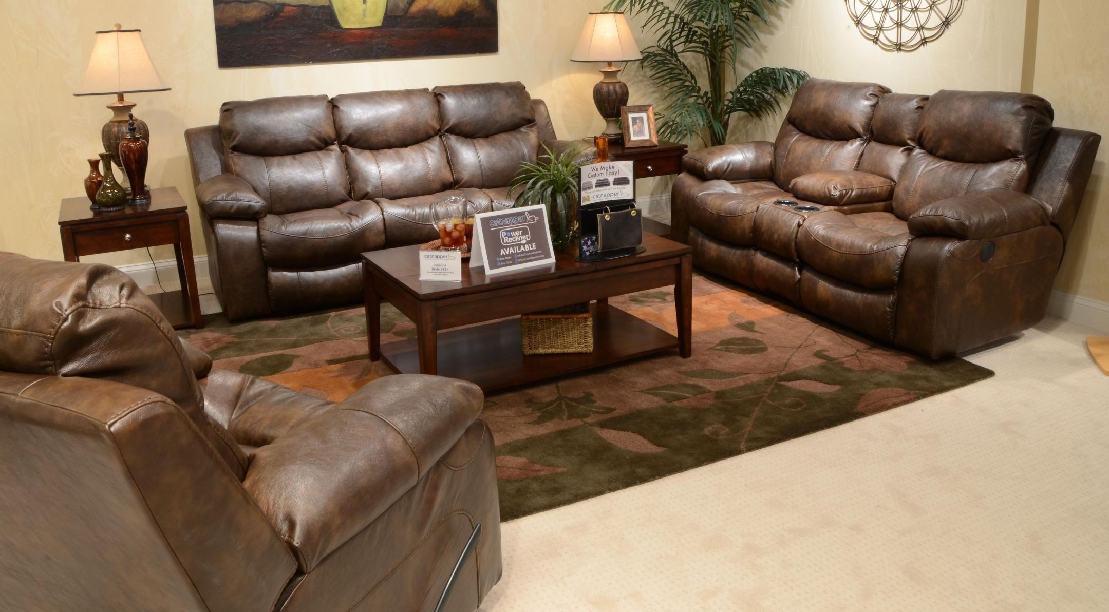 Catalina Timber Power Reclining Living Room Set From