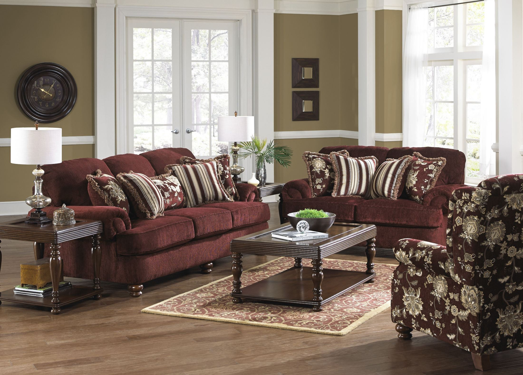 Belmont claret living room set from jackson for Front room furniture sets