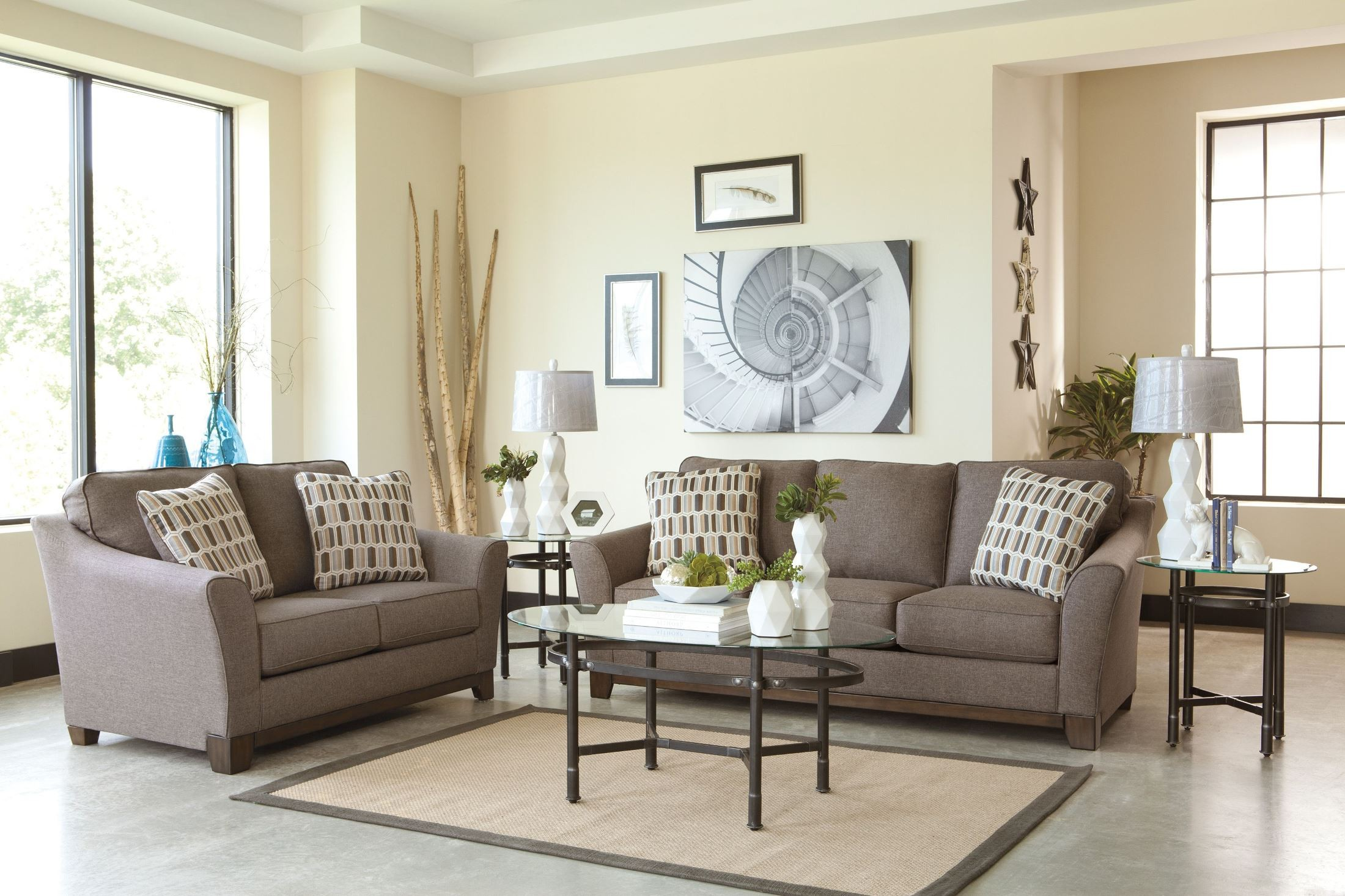 Janley slate sofa from ashley 4380438 coleman furniture for Living room june jordan