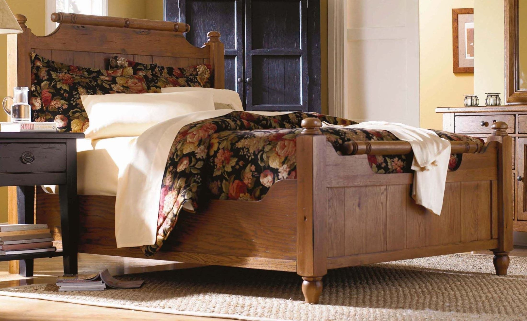 Attic Heirlooms Natural Oak Stain King Feather Bed From