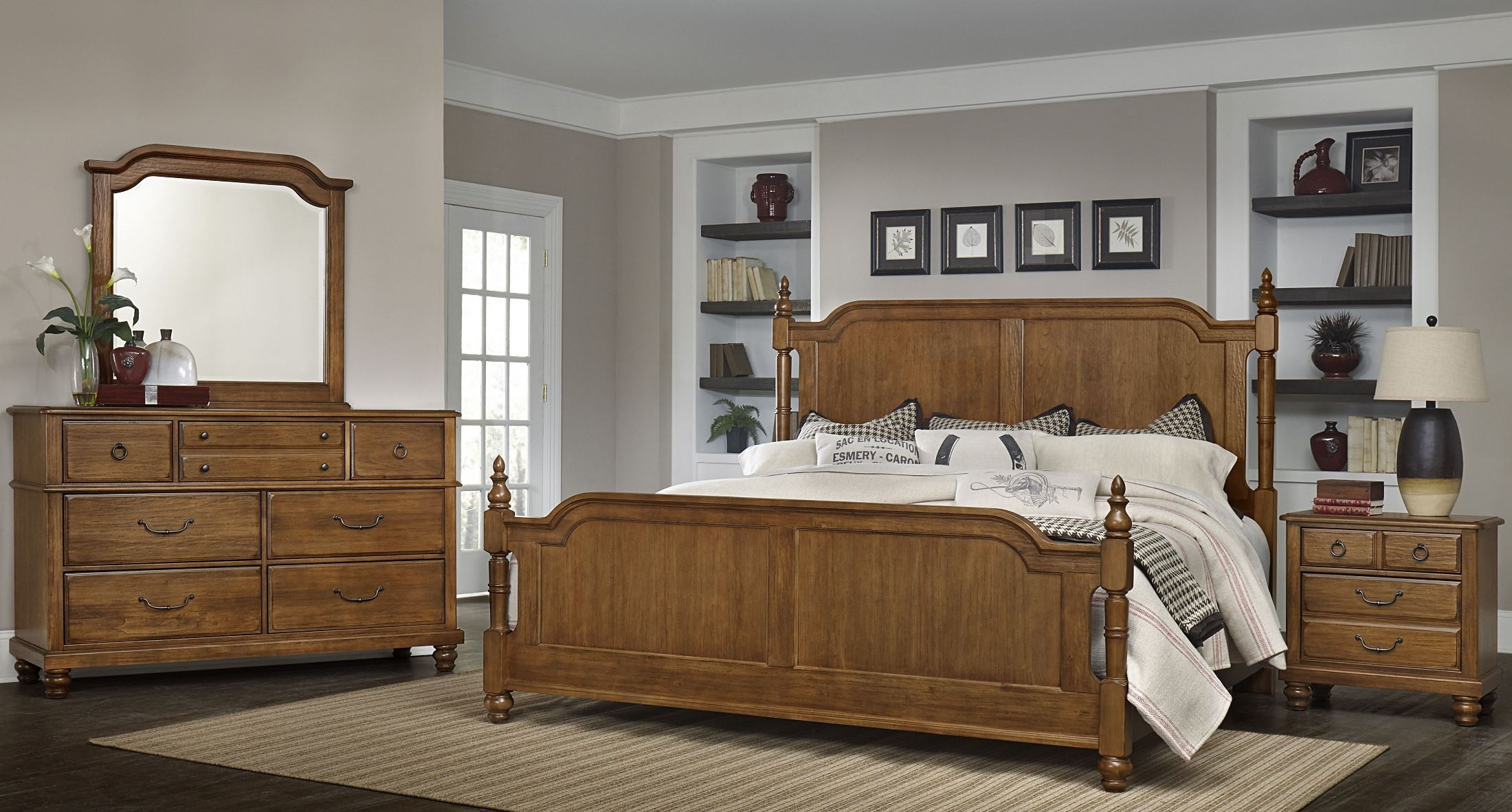 arrendelle antique cherry poster bedroom set from virginia