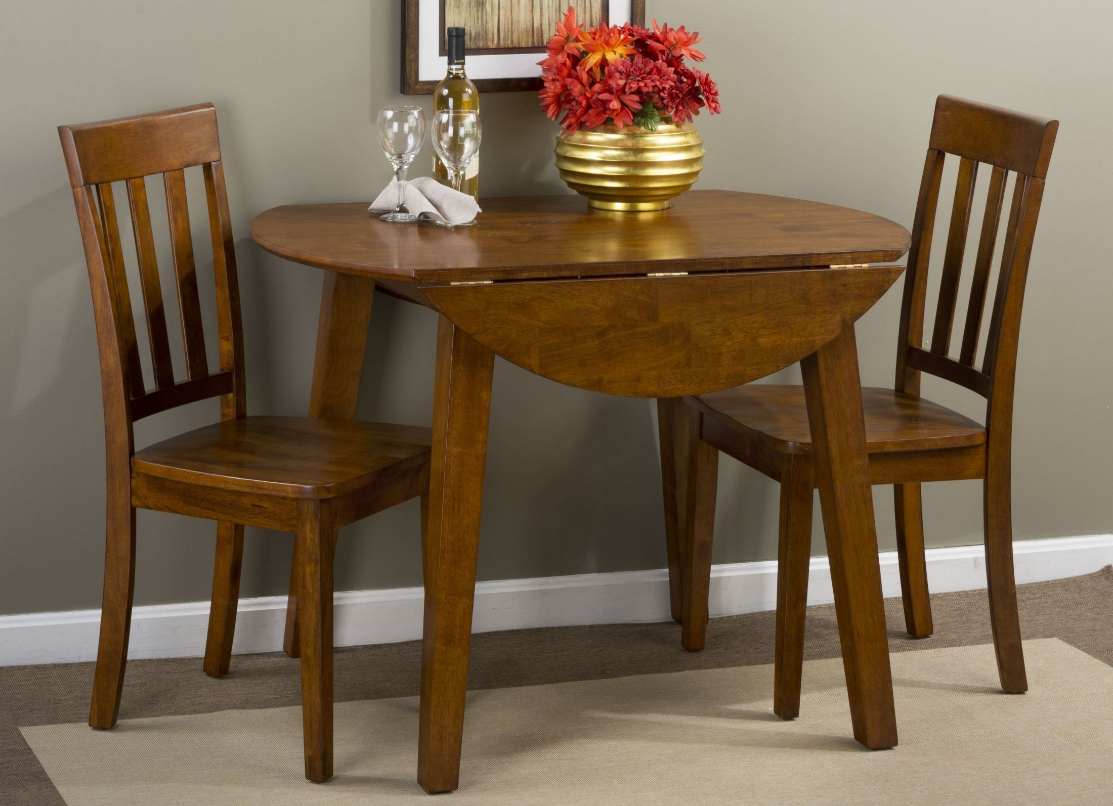 dining room sets with leaf   Simplicity Caramel Extendable Round Drop-Leaf Dining Room ...