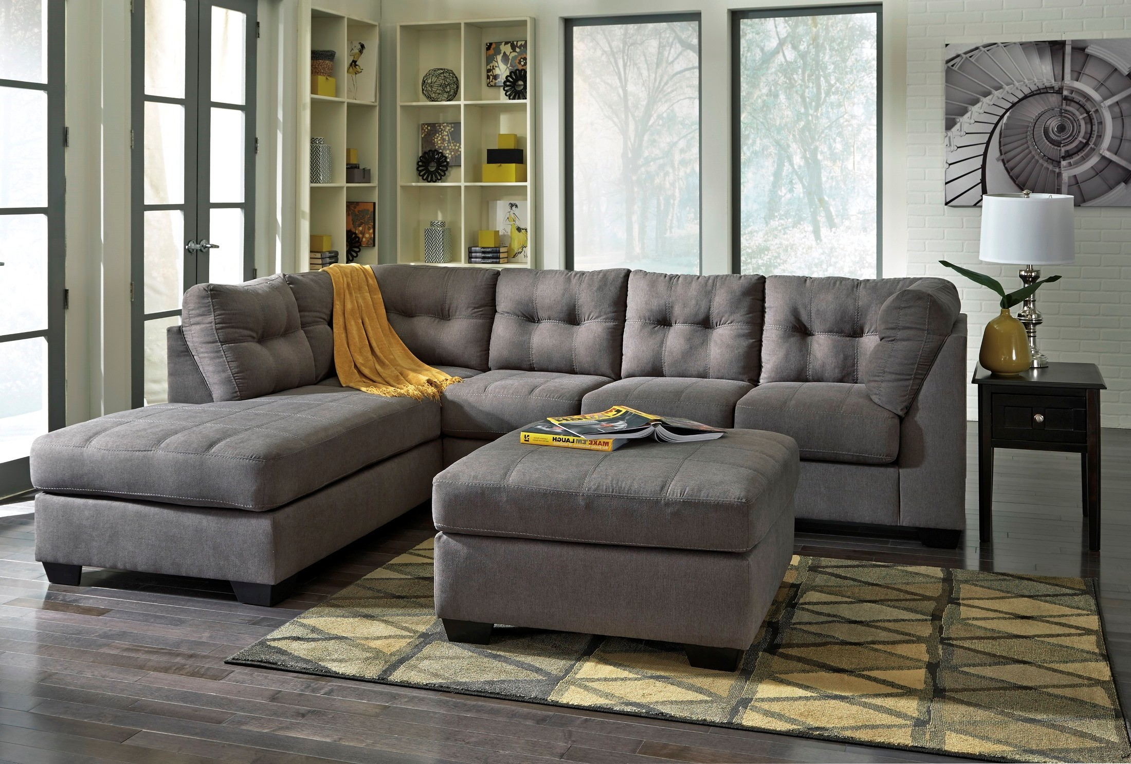 Maier charcoal laf sectional from ashley 45200 16 67 - Pictures of living rooms with sectionals ...