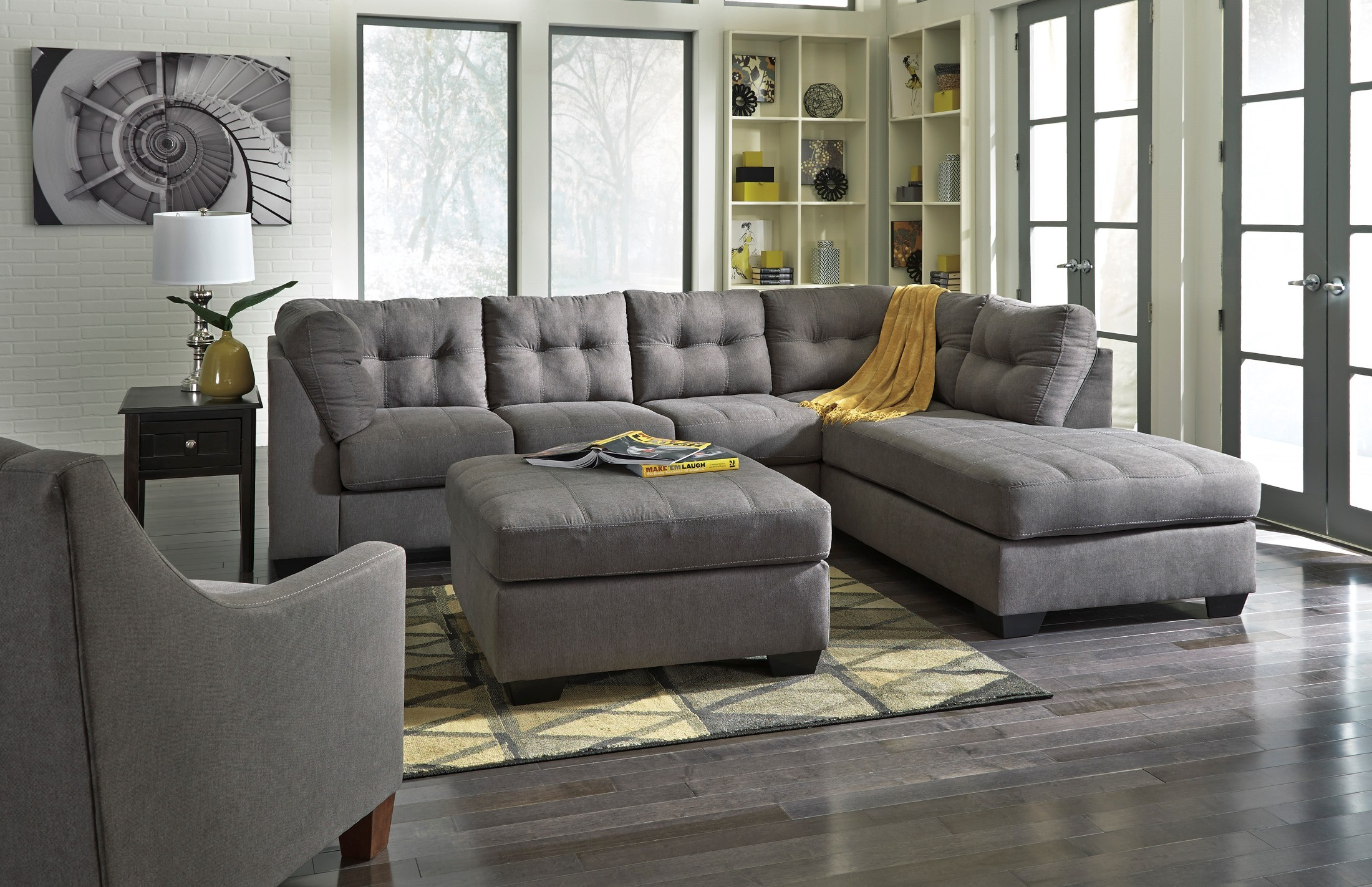 Maier Charcoal Oversized Accent Ottoman from Ashley