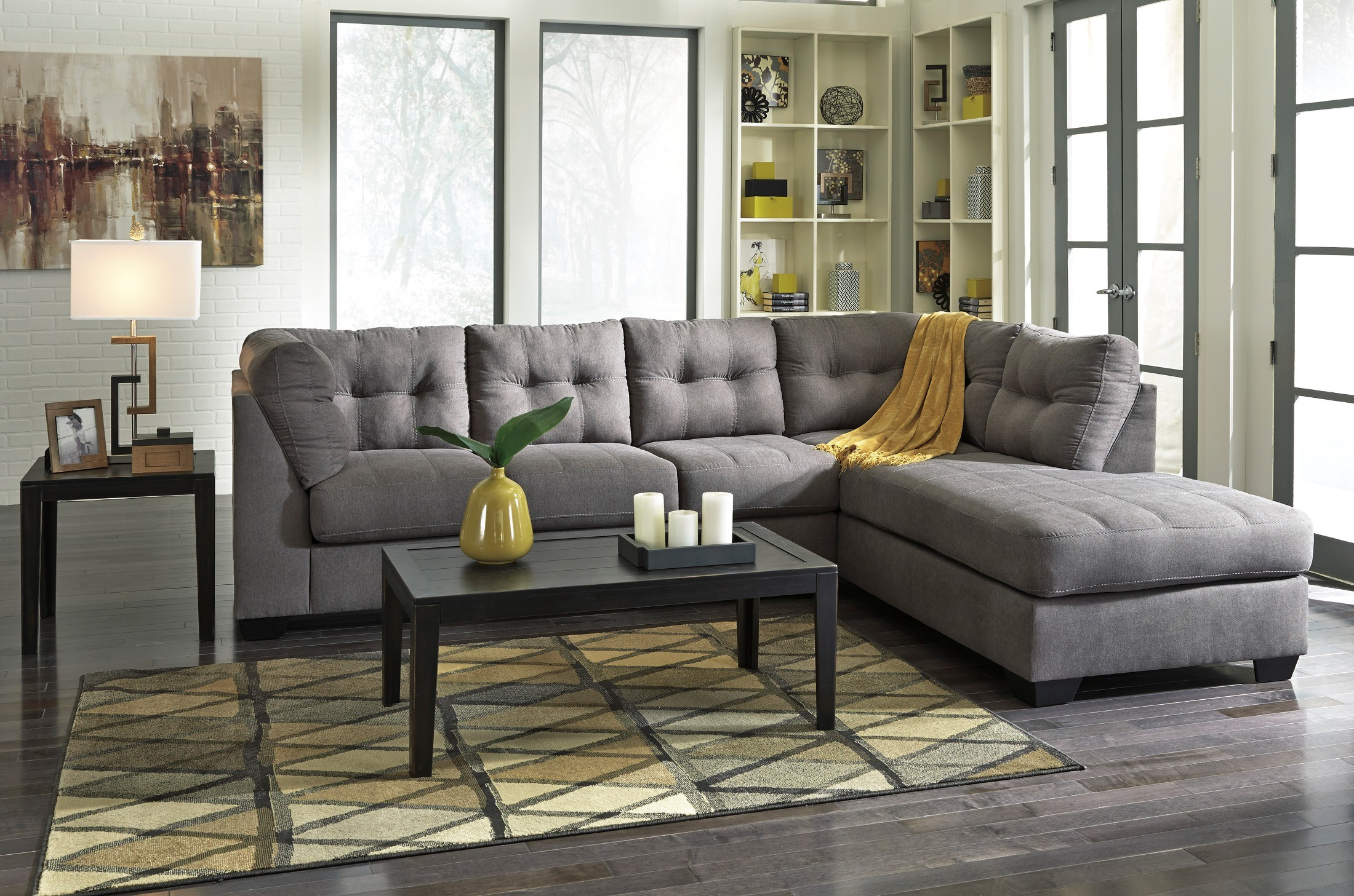 Maier Charcoal Raf Sectional From Ashley 45200 17 66