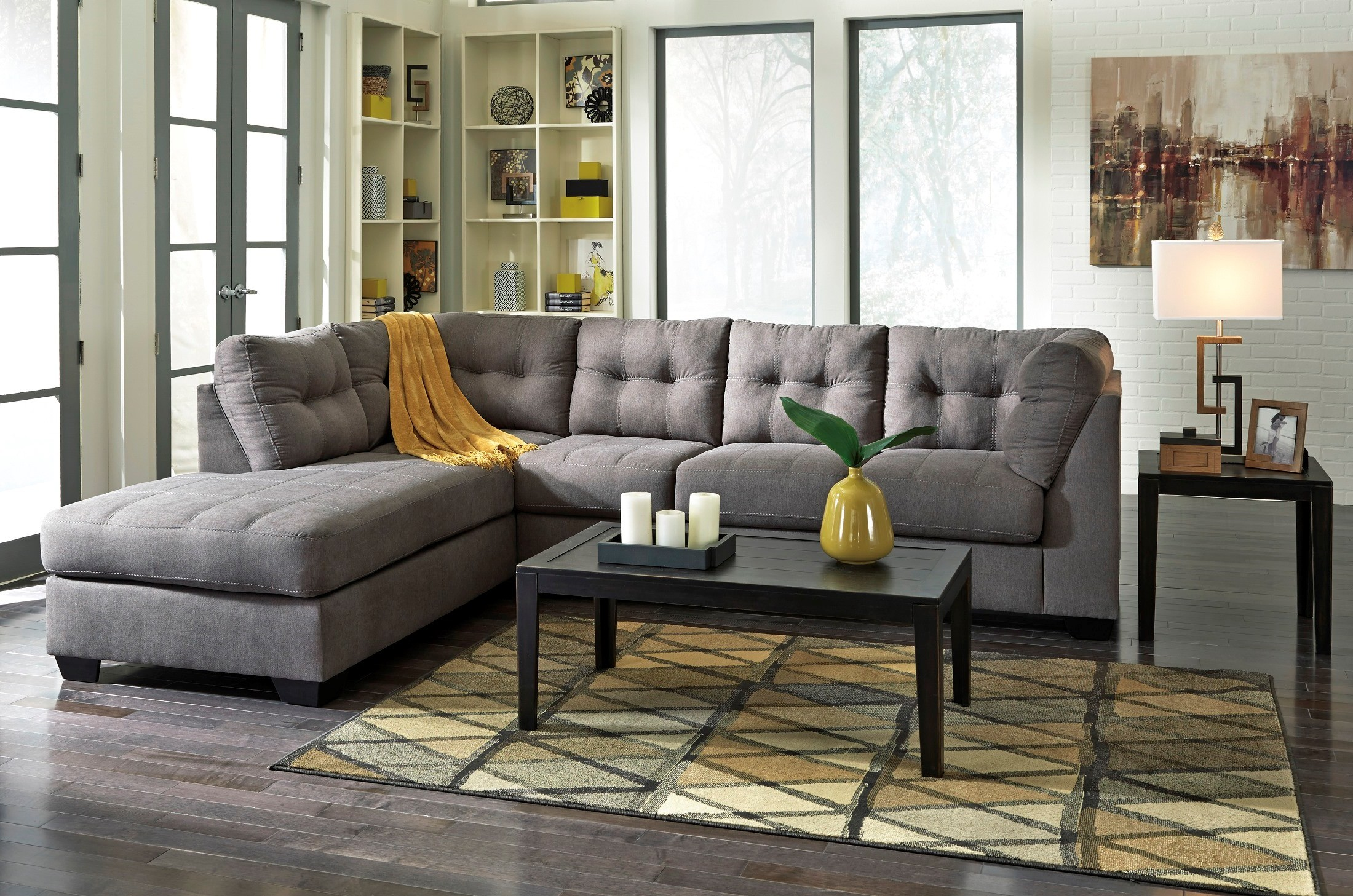 Maier Charcoal Laf Sectional From Ashley 45200 16 67 Coleman Furniture