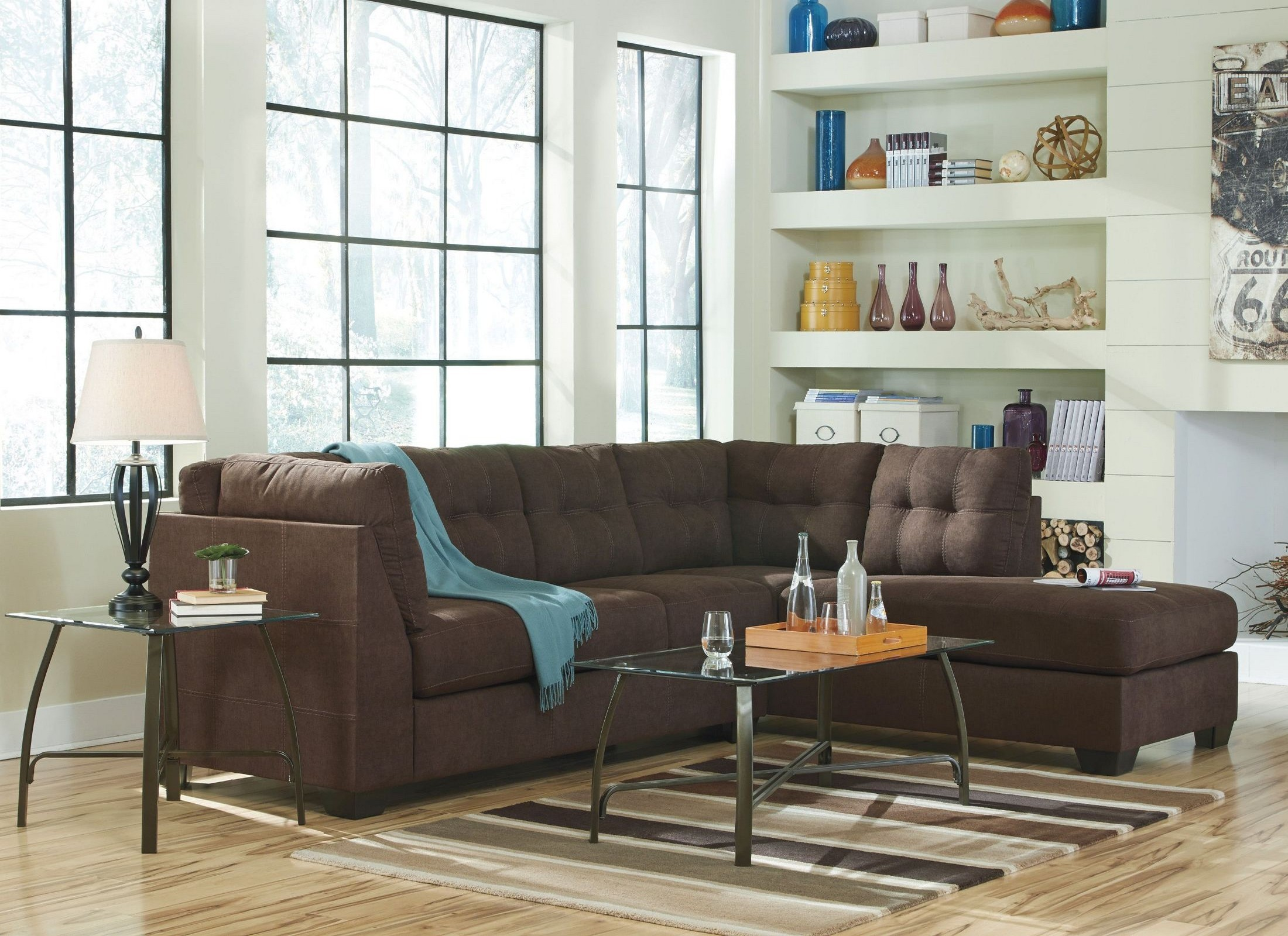Maier Walnut Raf Sectional From Ashley 45201 17 66