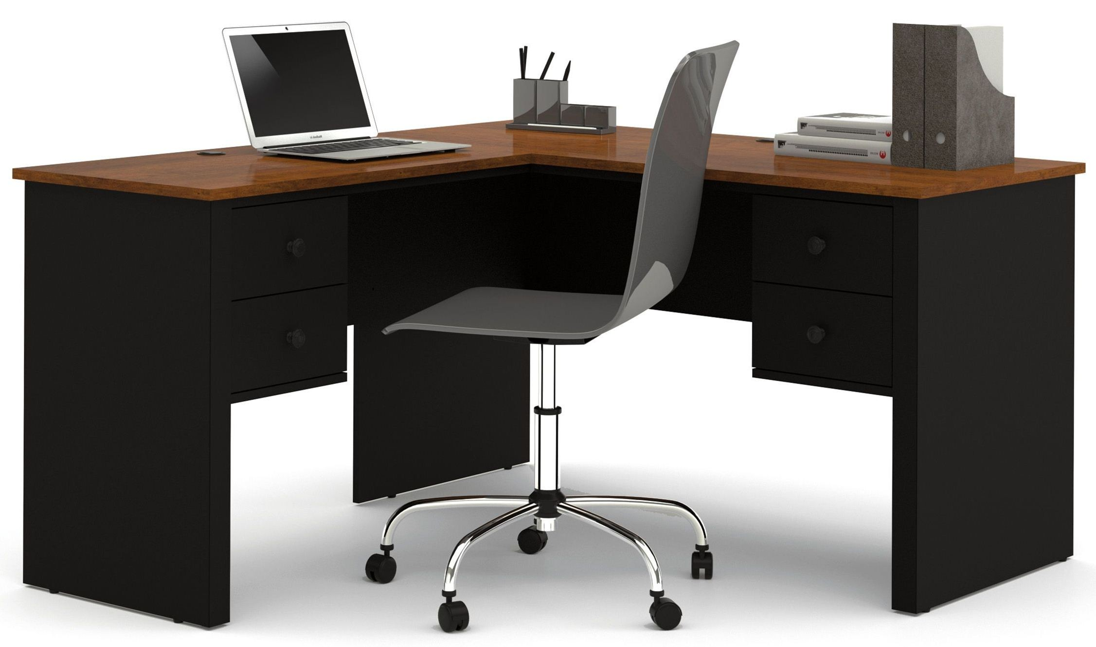 Somerville Black Amp Tuscany Brown L Shaped Desk From Bestar