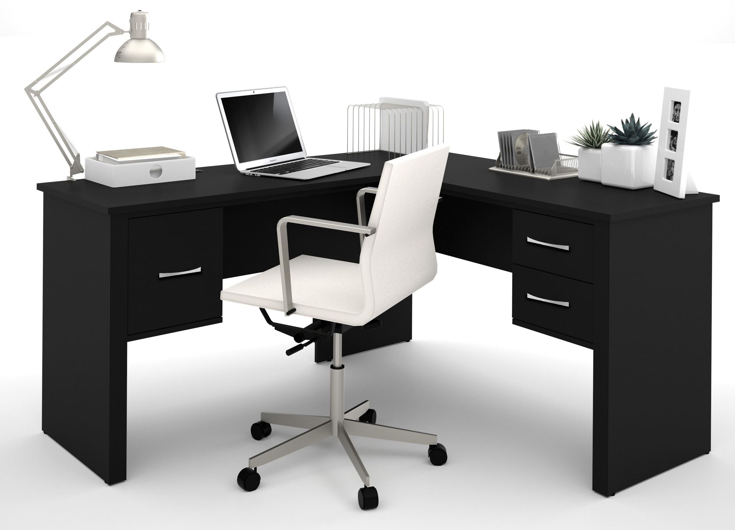 Somerville Black L Shaped Desk From Bestar 45421 1118