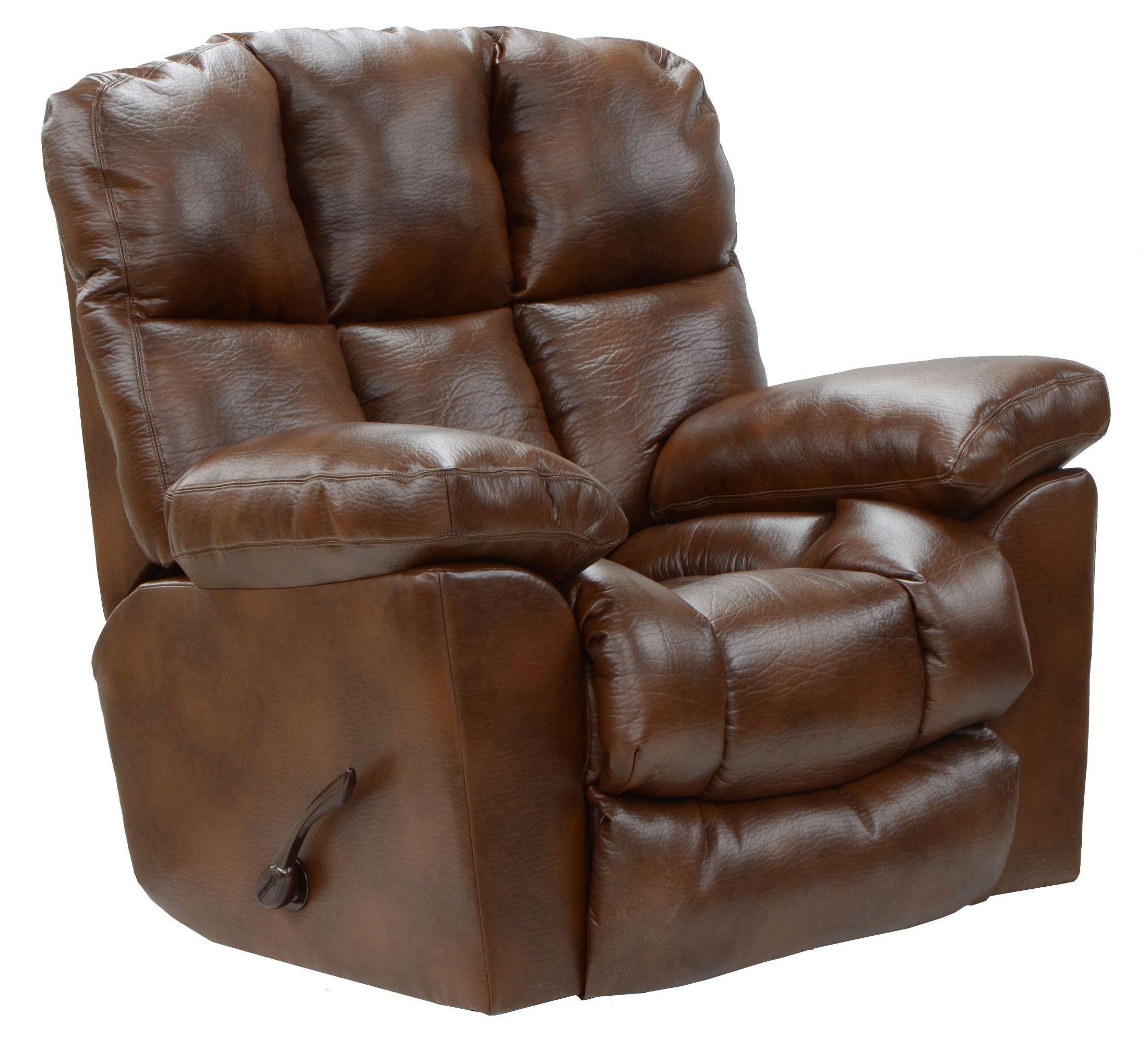 Griffey tobacco bonded leather chaise rocker recliner from for Catnapper cloud nine chaise recliner