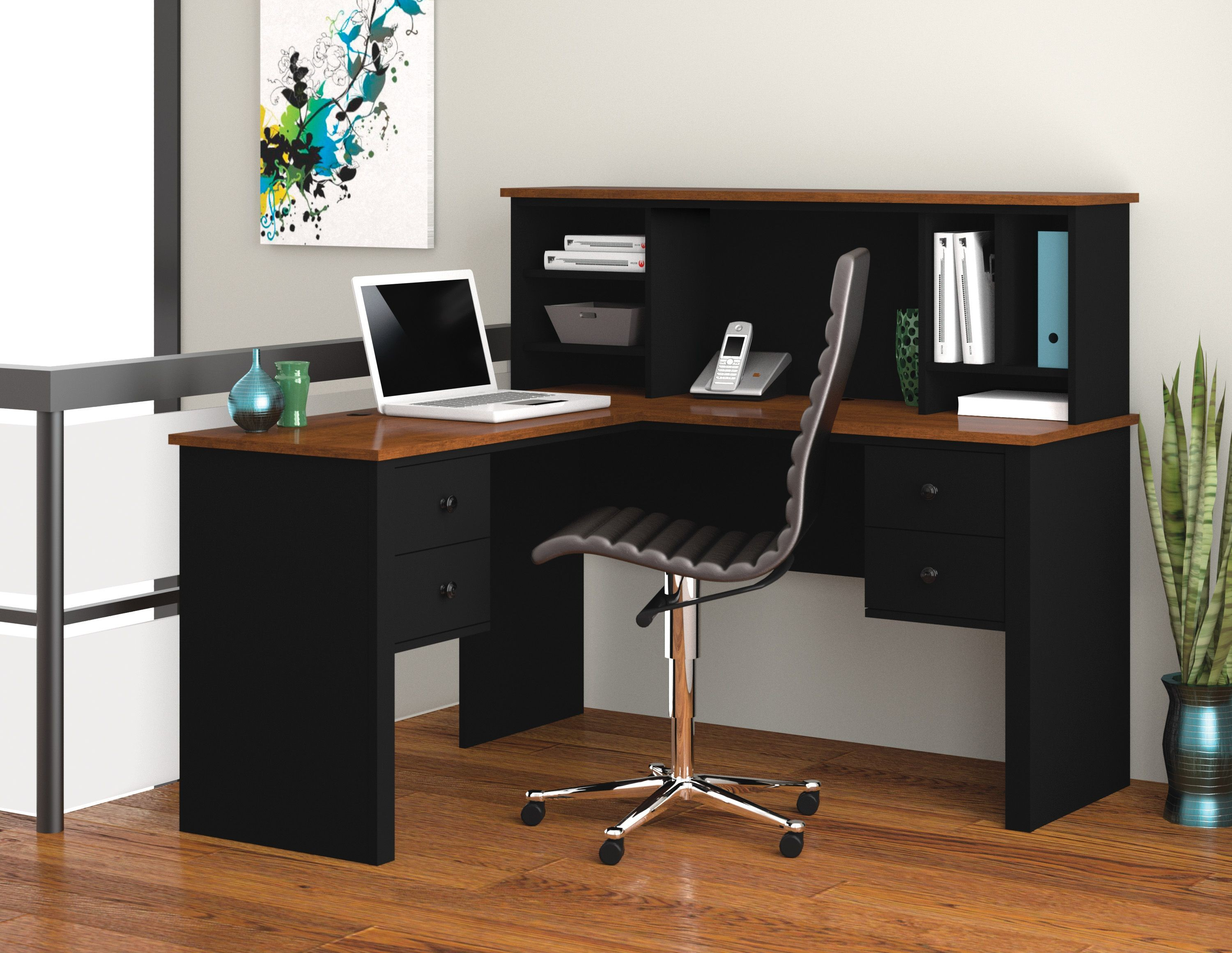 Somerville Black Amp Tuscany Brown L Shaped Desk With Hutch